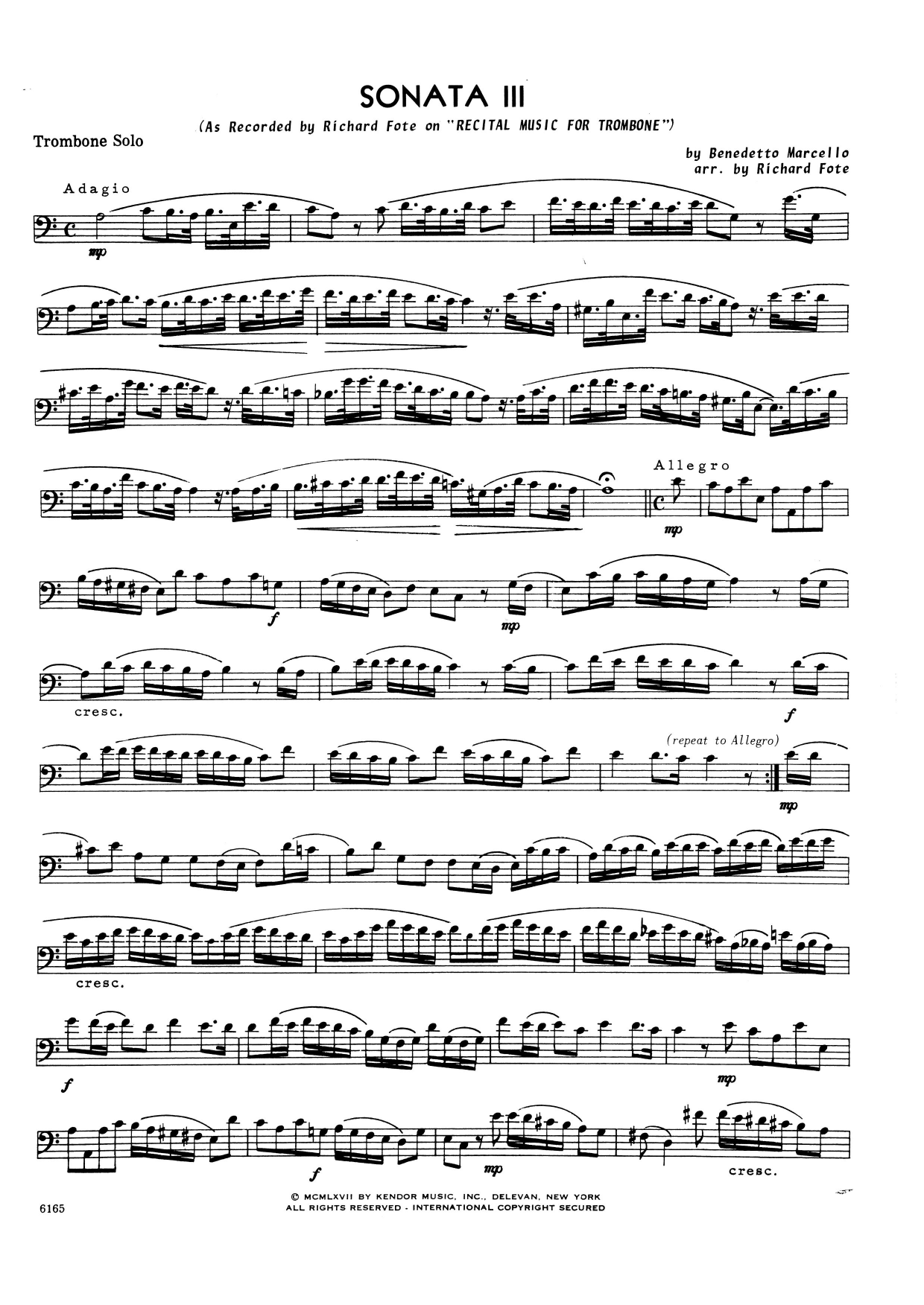 Sonata Iii (complete set of parts) sheet music for trombone and piano by Benedetto Marcello and Richard Fote. Score Image Preview.