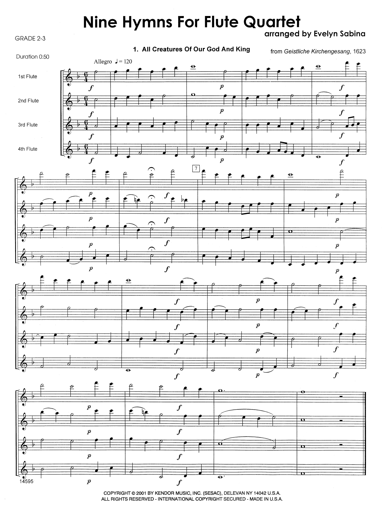 Nine Hymns For Flute Quartet (COMPLETE) sheet music for flute quartet by Evelyn Sabina and Miscellaneous. Score Image Preview.