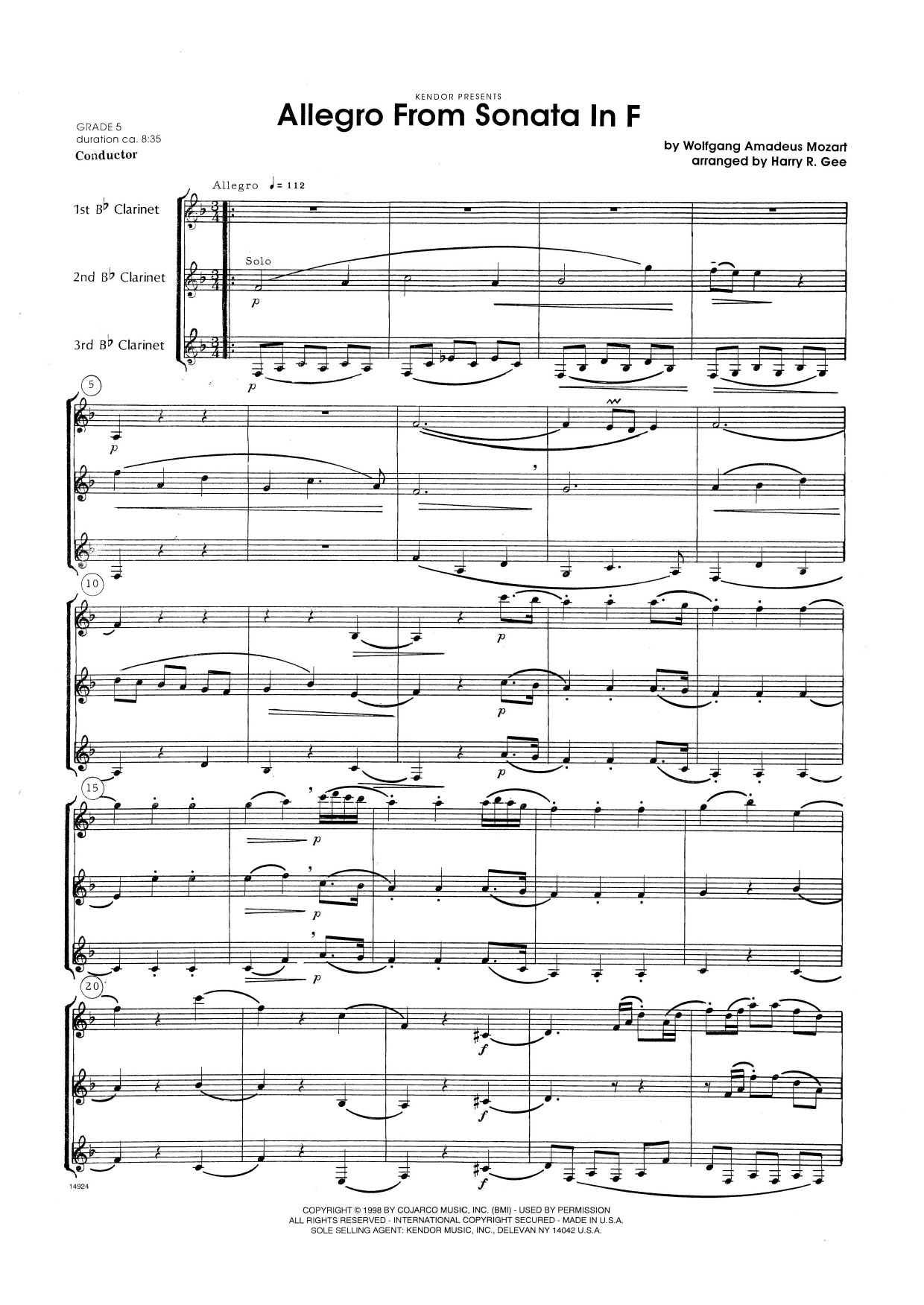 Allegro From Sonata In F (COMPLETE) sheet music for clarinet trio by Harry Gee and Wolfgang Amadeus Mozart. Score Image Preview.