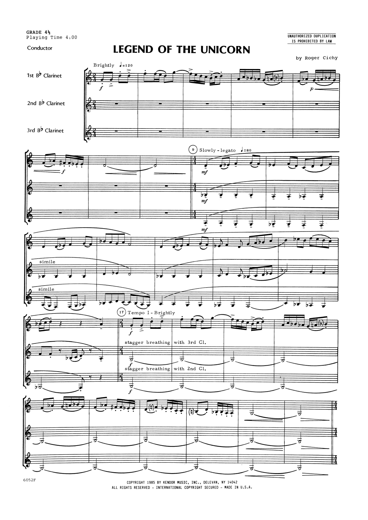 Legend Of The Unicorn (COMPLETE) sheet music for clarinet trio by Roger Cichy. Score Image Preview.