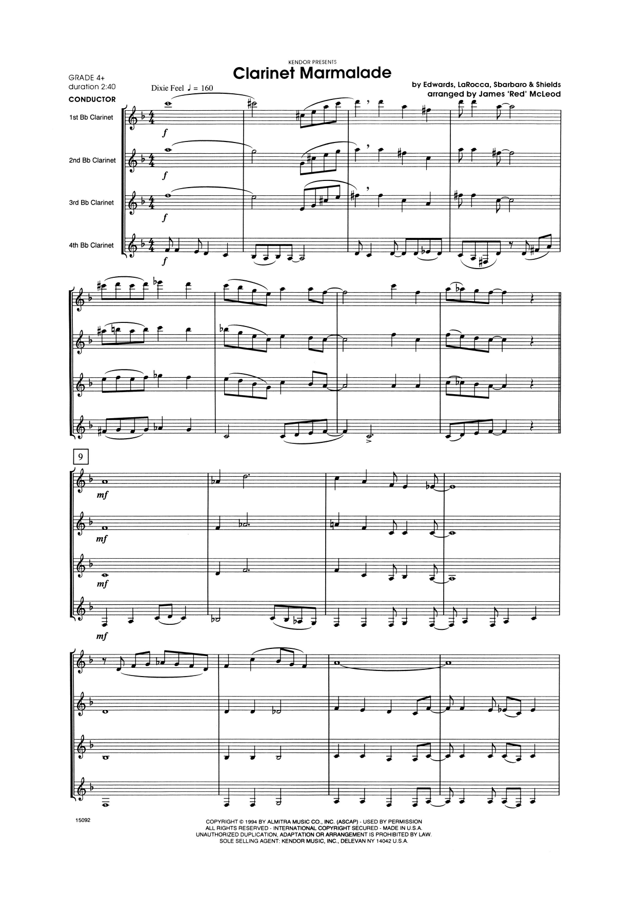 Clarinet Marmalade (COMPLETE) sheet music for clarinet quartet by James 'Red' McLoud. Score Image Preview.