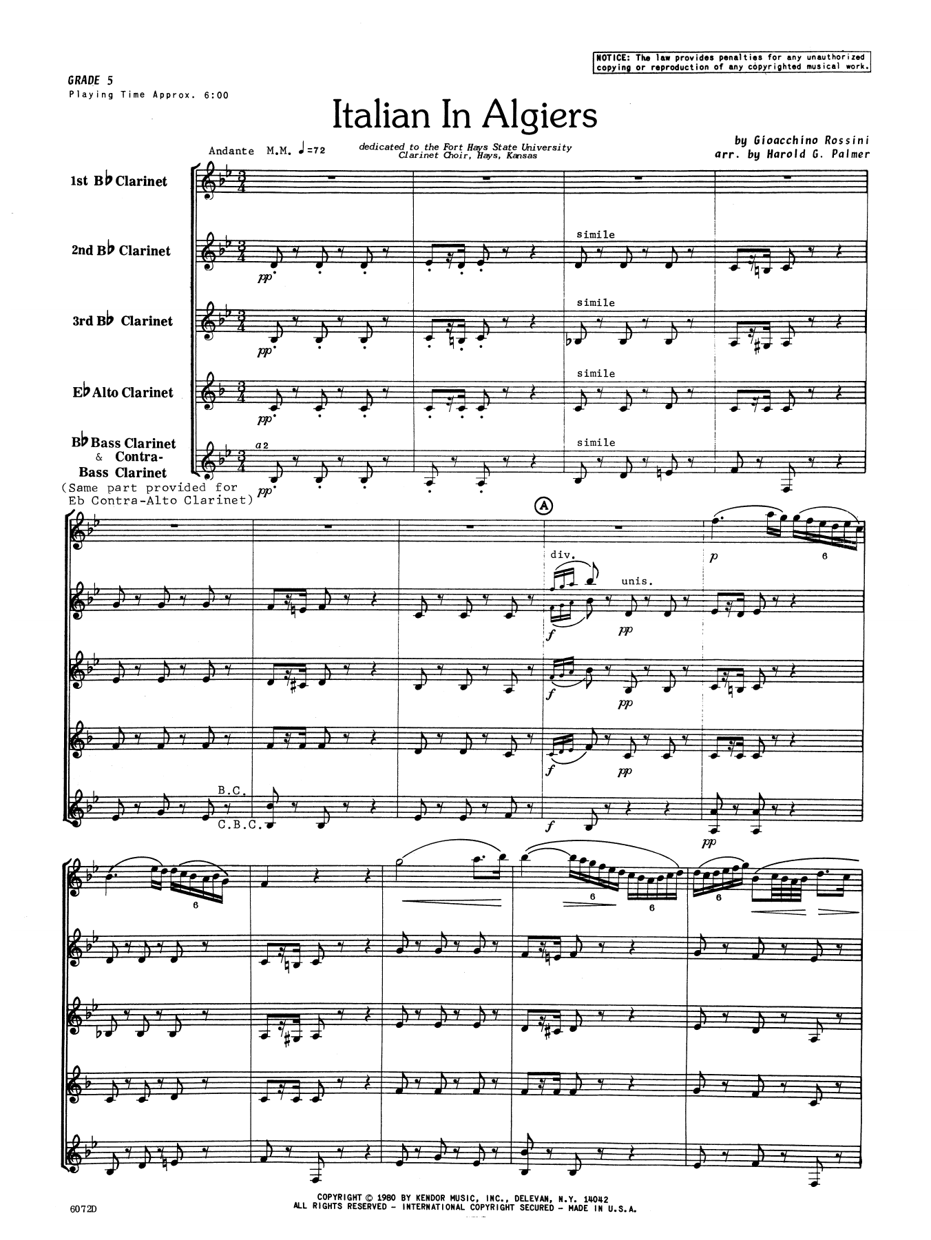 Italian In Algiers (COMPLETE) sheet music for clarinet ensemble by Gioacchino Rossini. Score Image Preview.