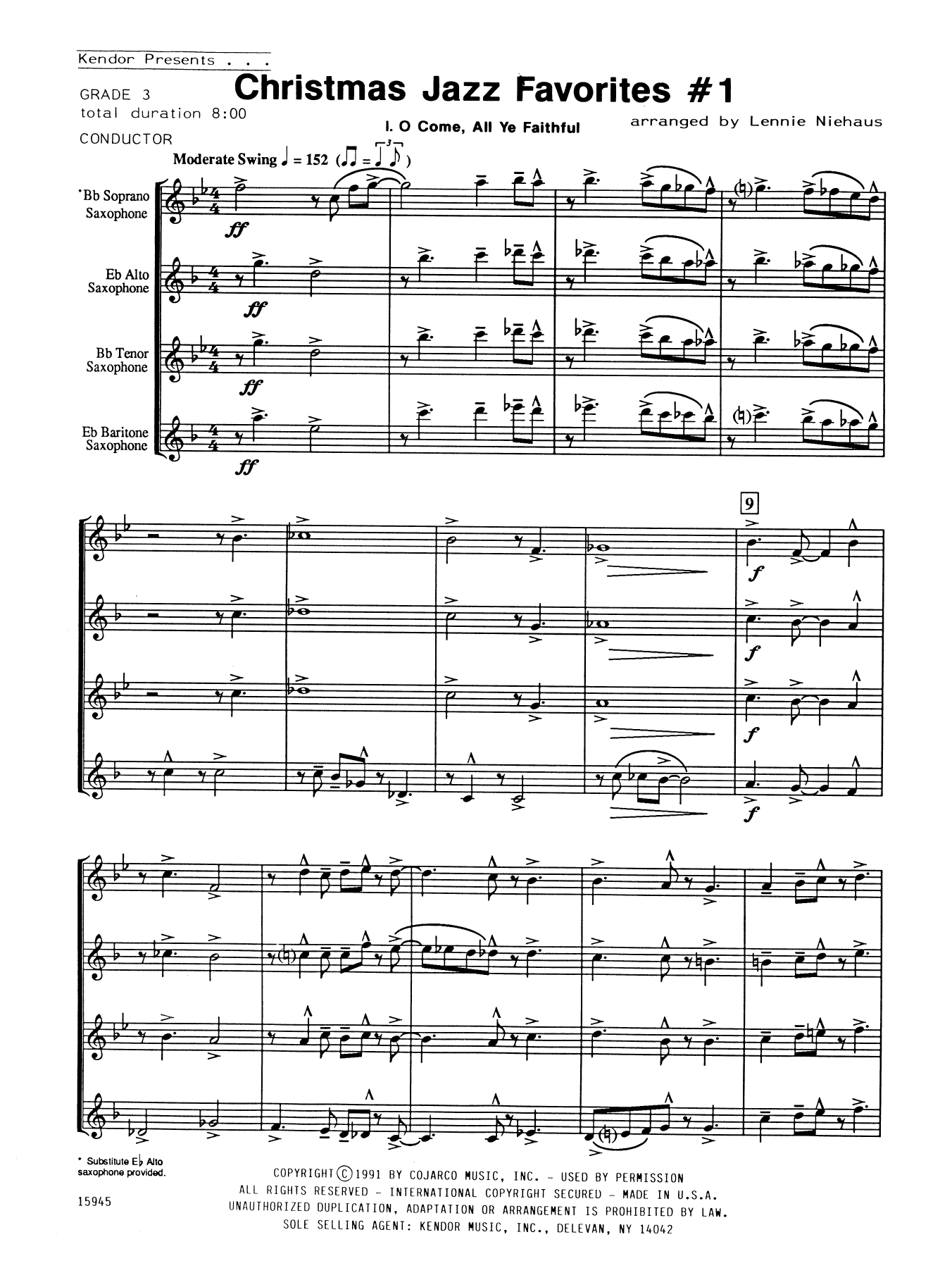 Christmas Jazz Favorites #1 (COMPLETE) sheet music for saxophone quartet by Lennie Niehaus. Score Image Preview.