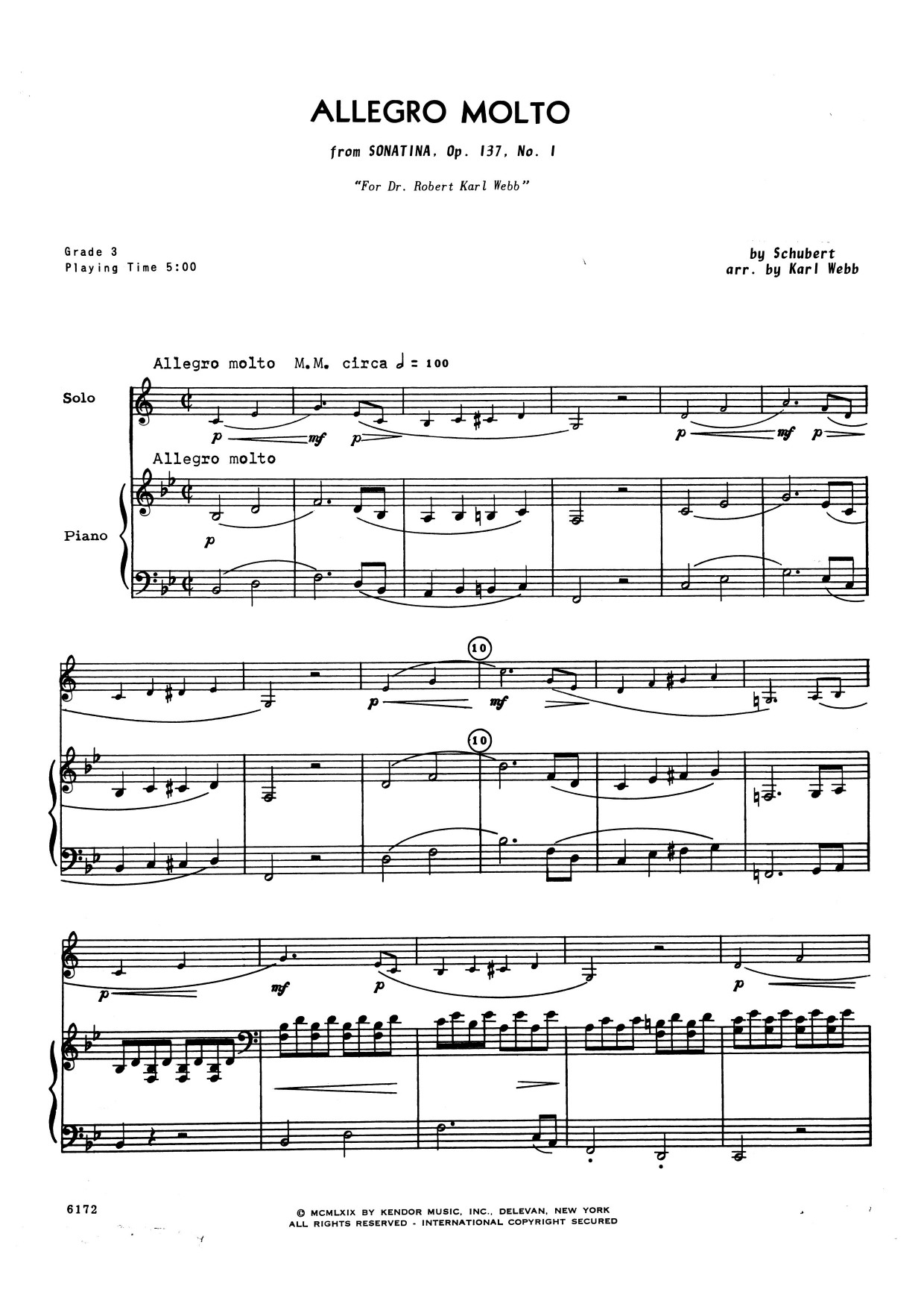 Allegro Molto (from Sonatina, Opus 137, No. 1) - Piano Accompaniment Sheet Music