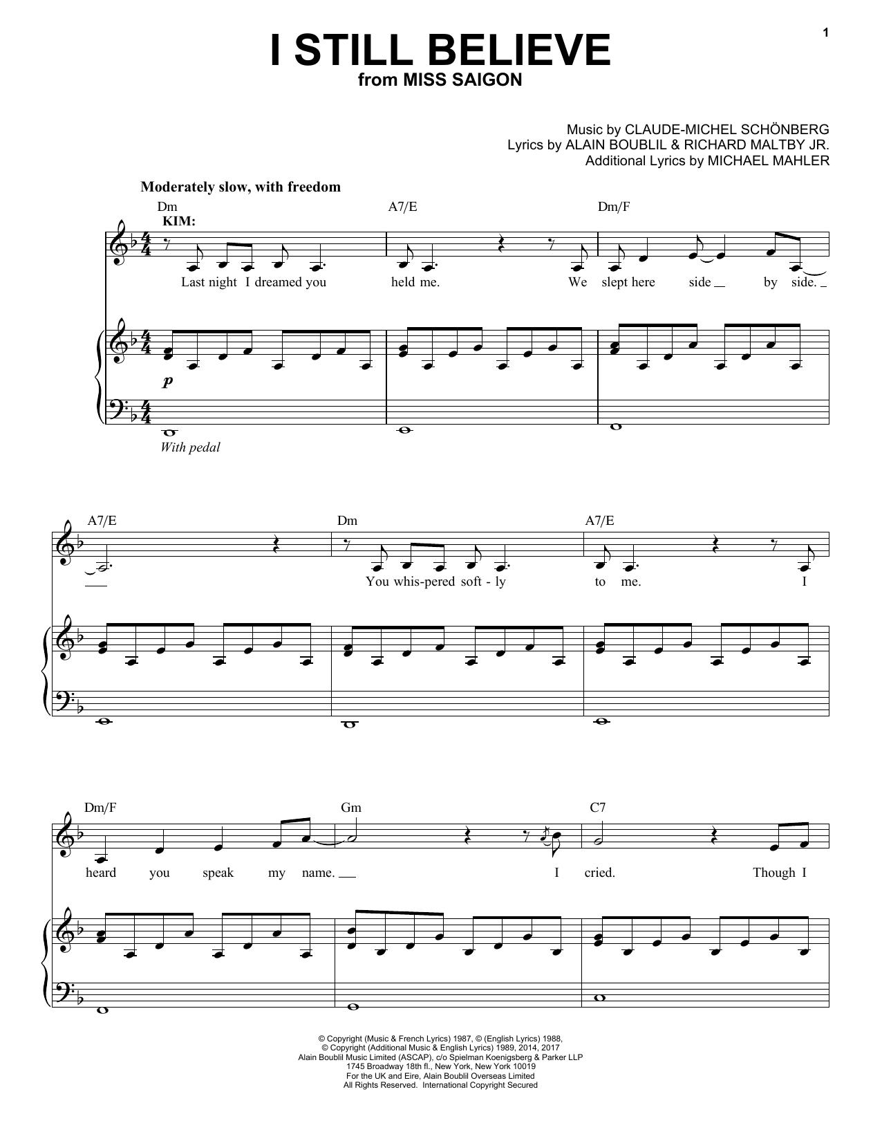 I Still Believe (Piano & Vocal)