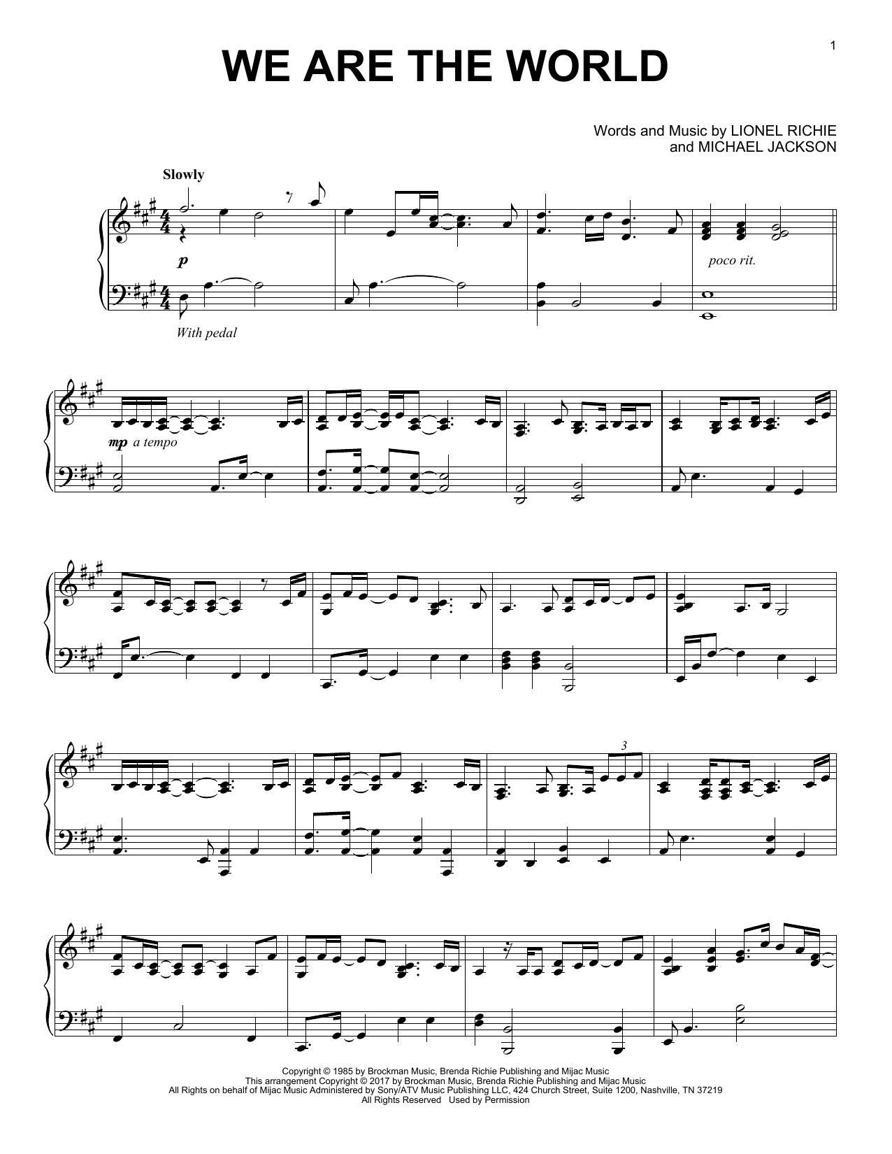 We Are The World (Piano Solo)