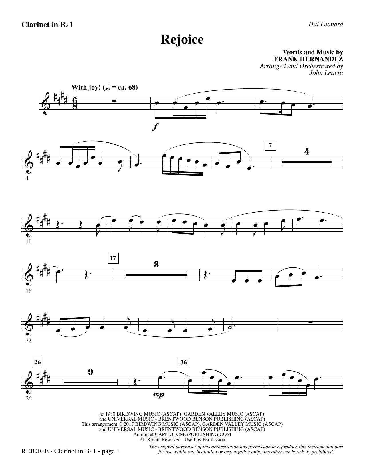 Rejoice - Bb Clarinet 1 (Choir Instrumental Pak)