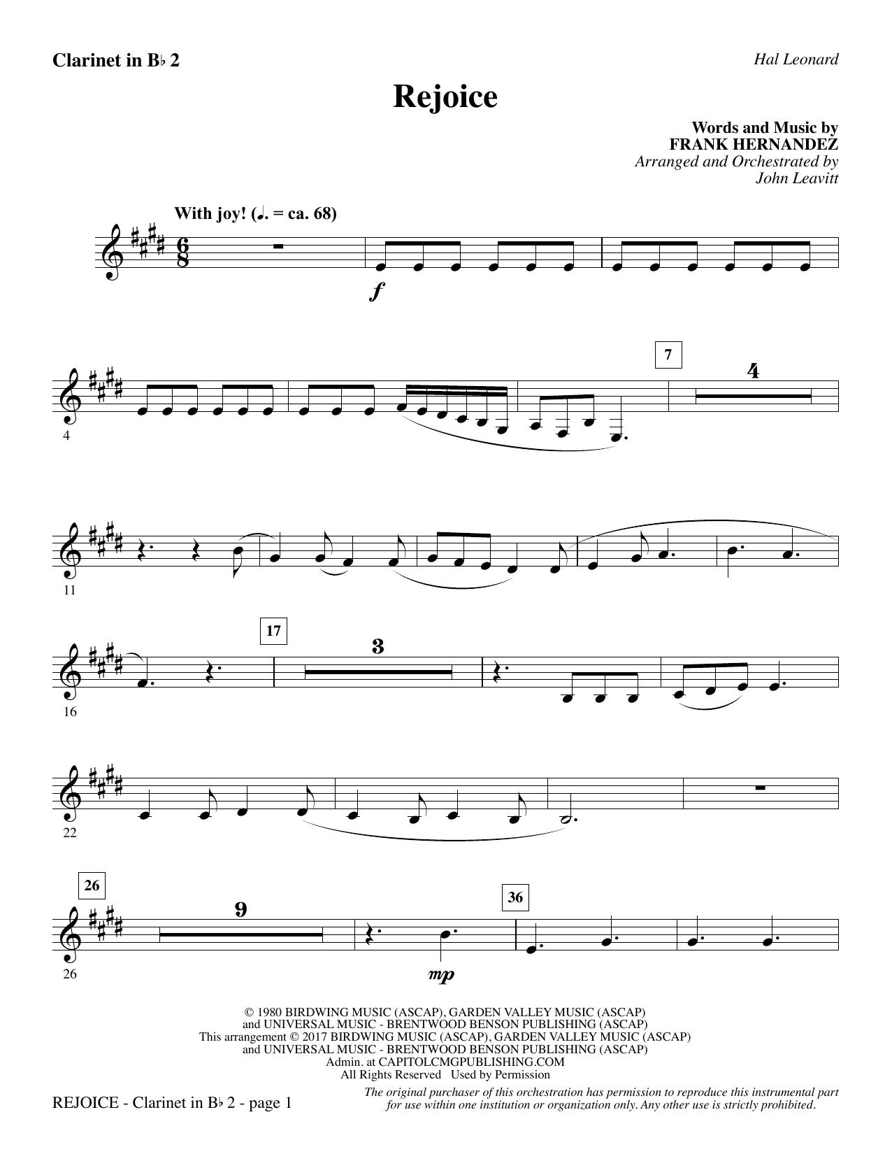 Rejoice - Bb Clarinet 2 (Choir Instrumental Pak)