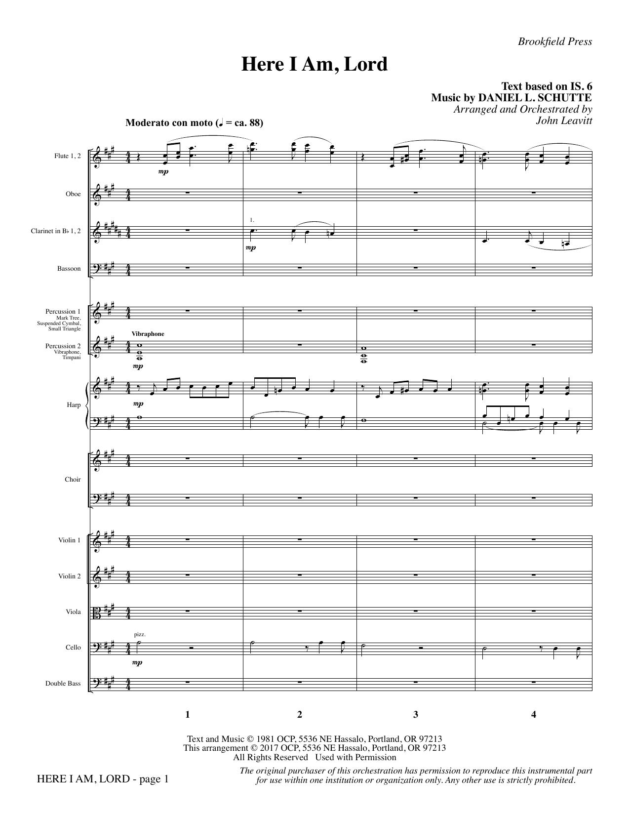 Here I Am, Lord - Full Score (Choir Instrumental Pak)
