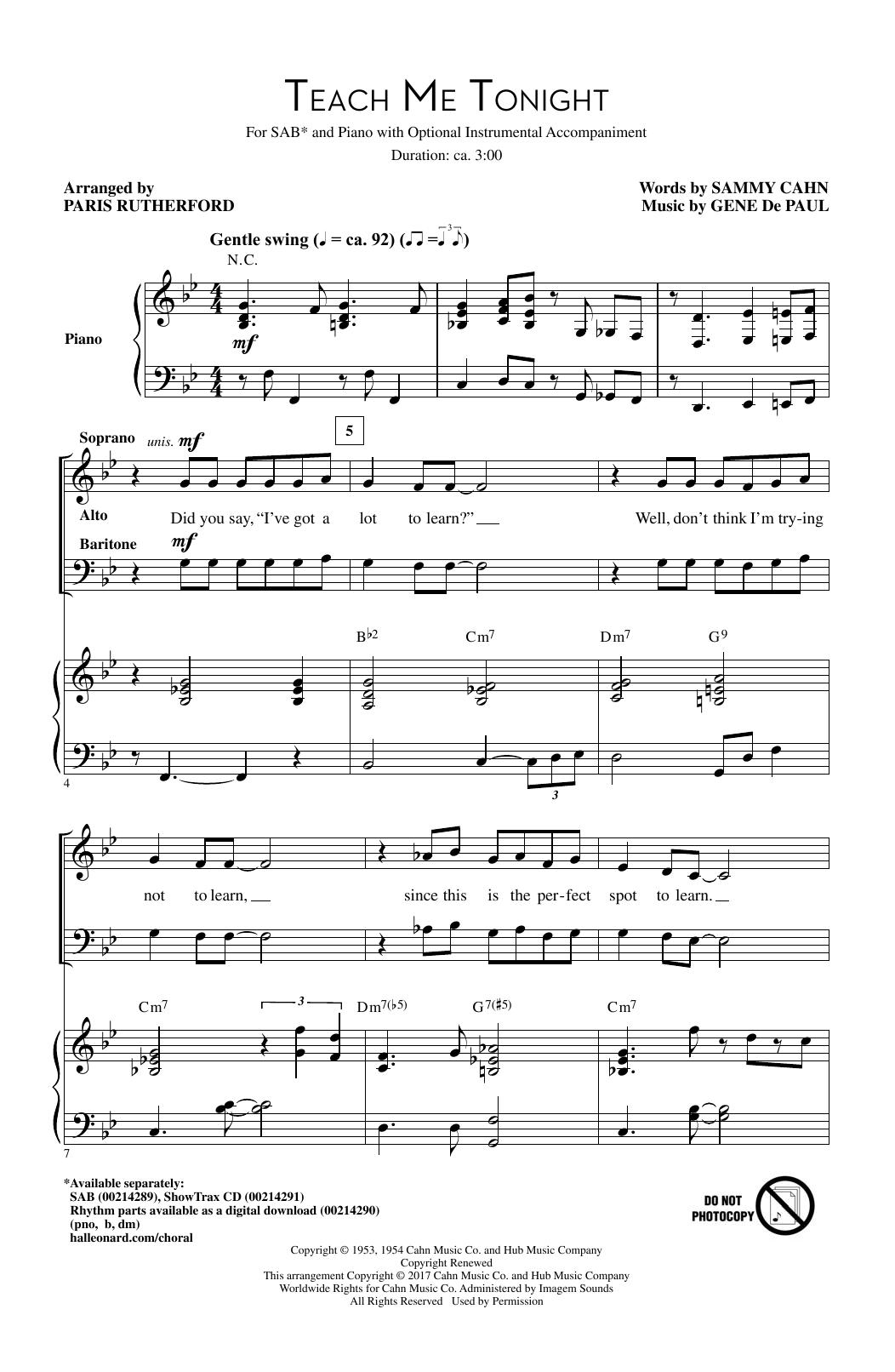 Teach Me Tonight (SAB Choir)