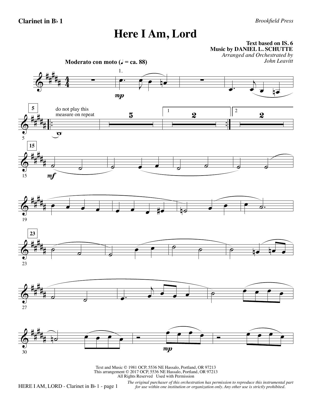 Here I Am, Lord - Bb Clarinet 1 (Choir Instrumental Pak)