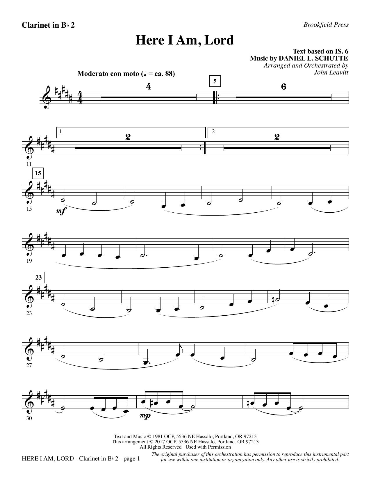 Here I Am, Lord - Bb Clarinet 2 (Choir Instrumental Pak)