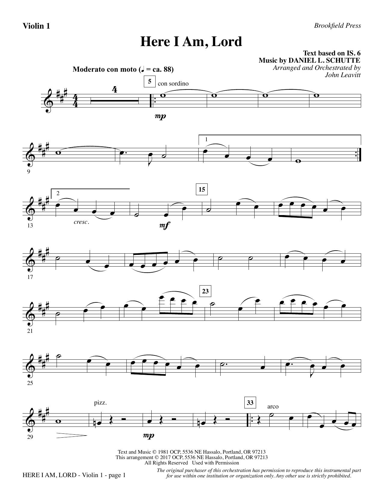 Here I Am, Lord - Violin 1 (Choir Instrumental Pak)