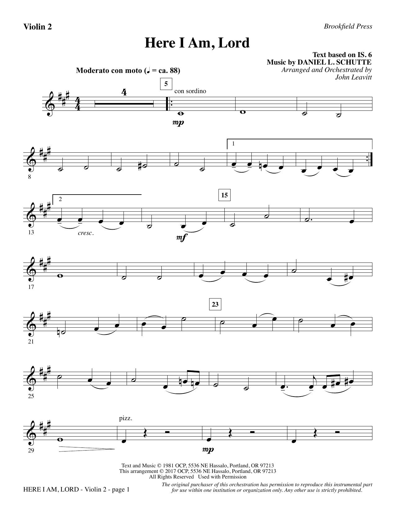 Here I Am, Lord - Violin 2 (Choir Instrumental Pak)