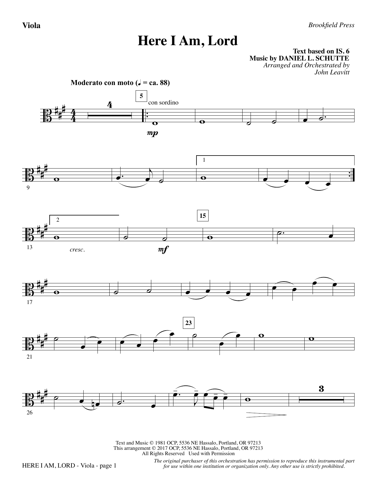Here I Am, Lord - Viola atStanton's Sheet Music