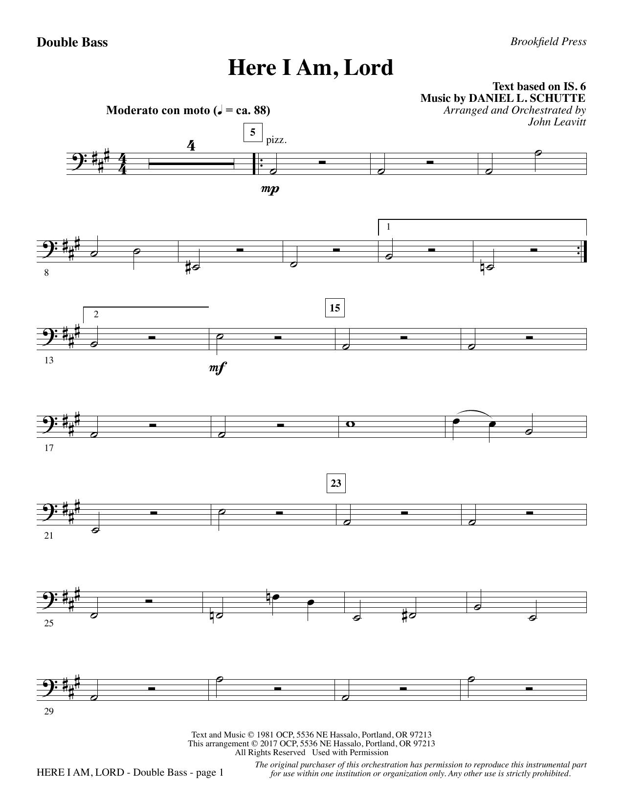 Here I Am, Lord - Double Bass (Choir Instrumental Pak)