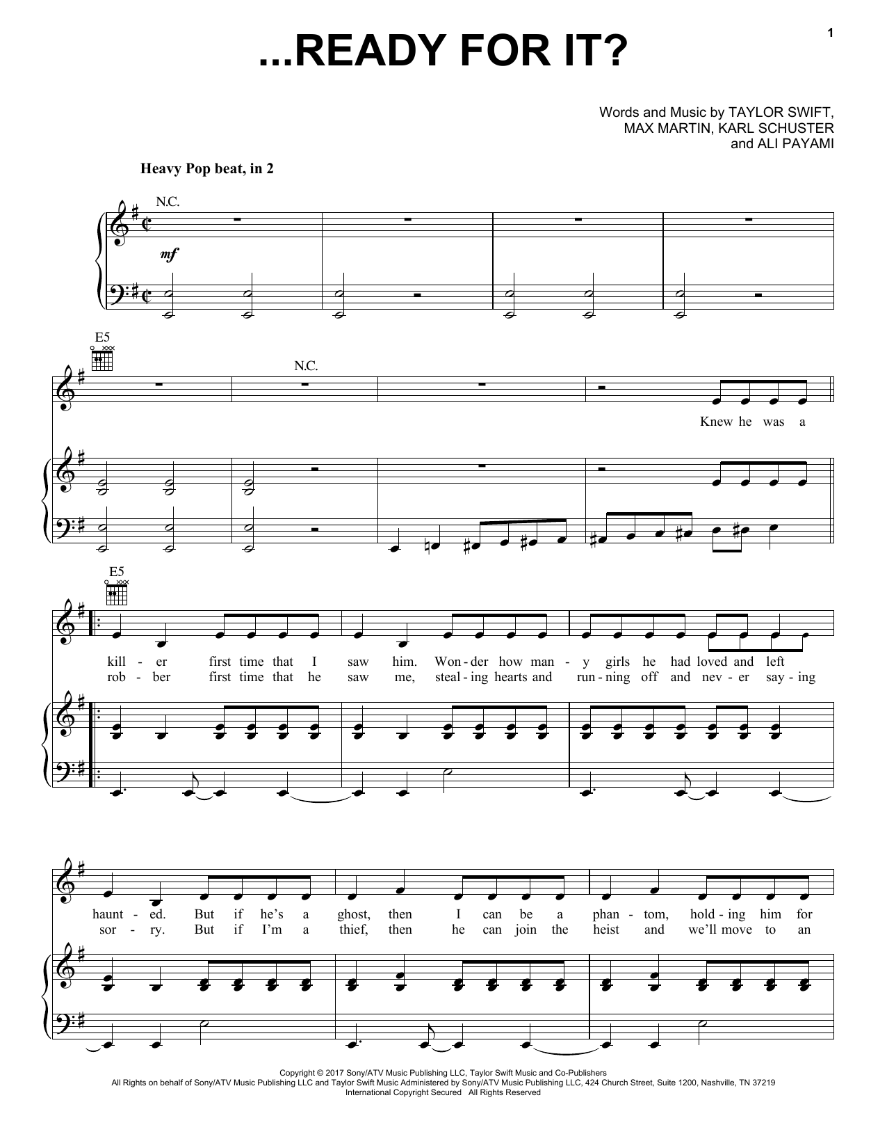 ...Ready for It? (Piano, Vocal & Guitar (Right-Hand Melody))