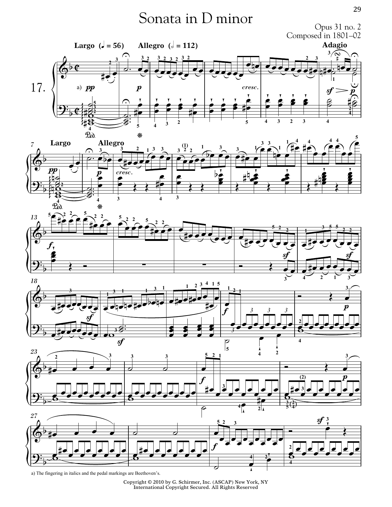 "Piano Sonata No. 17 In D Minor, Op. 31, No. 2 ""Tempest"" Sheet Music"
