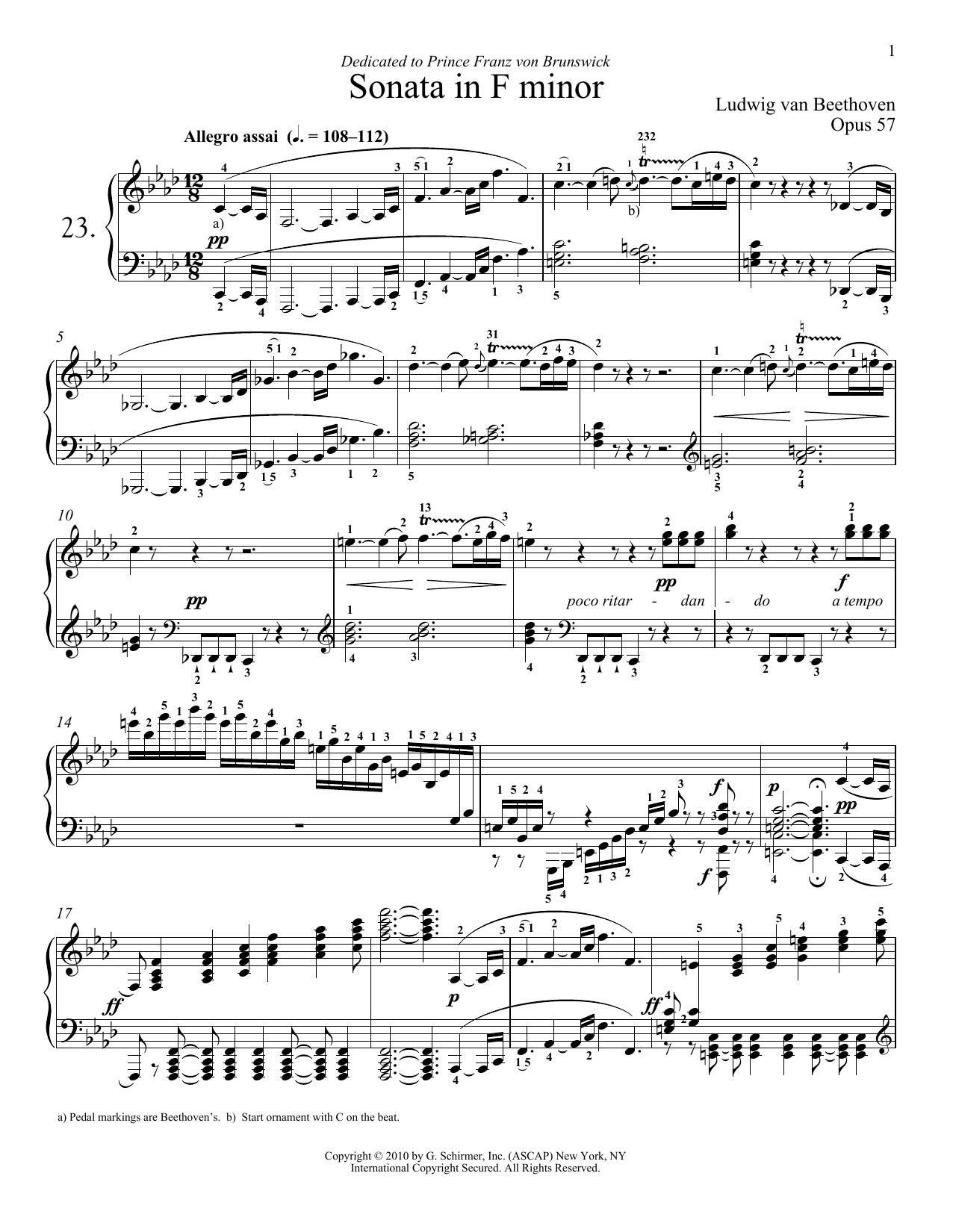 """Piano Sonata No. 23 In F minor, Op. 57 """"Appassionata"""" (Piano Solo)"""