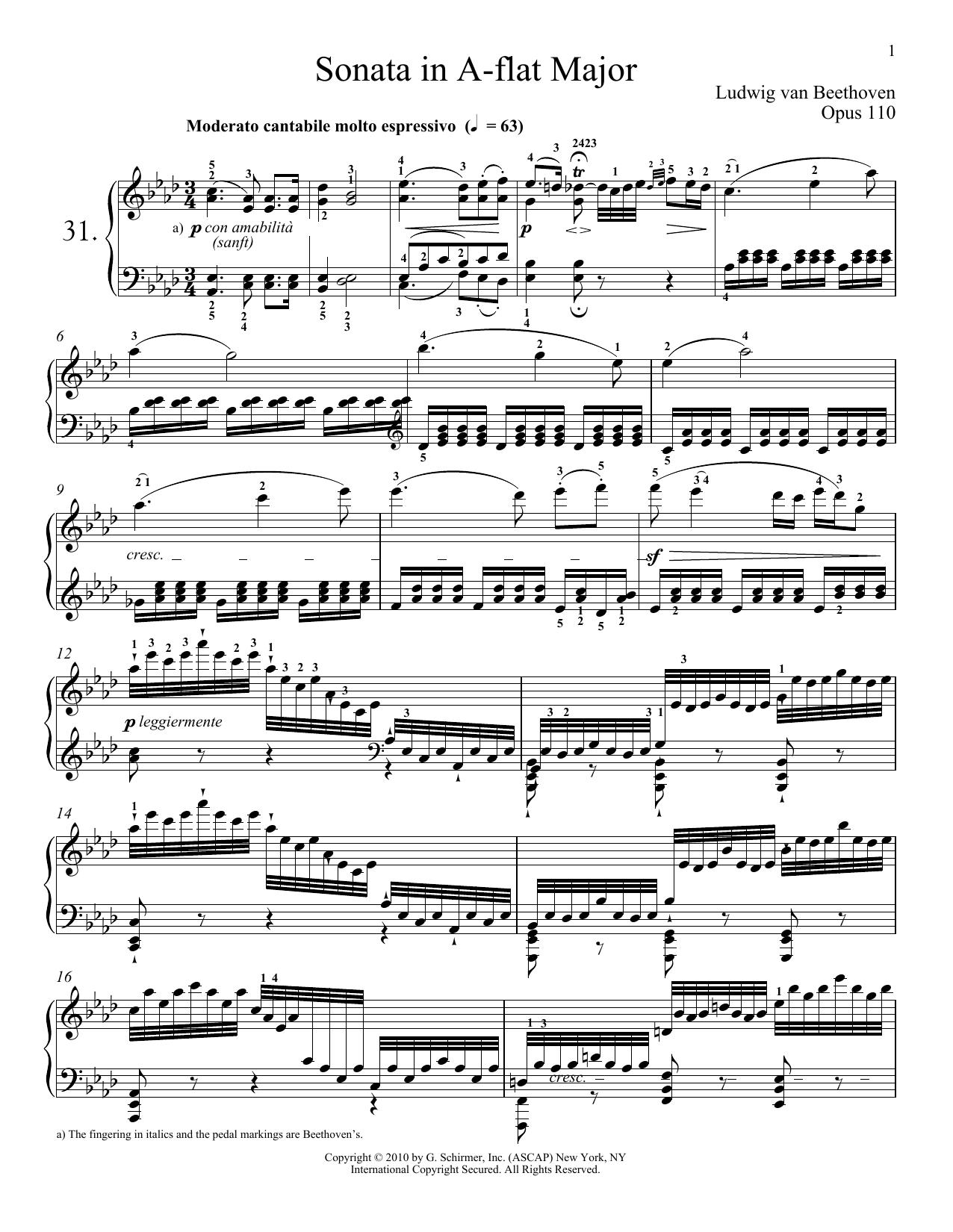 Piano Sonata No. 31 In A-flat Major, Op. 110 Sheet Music