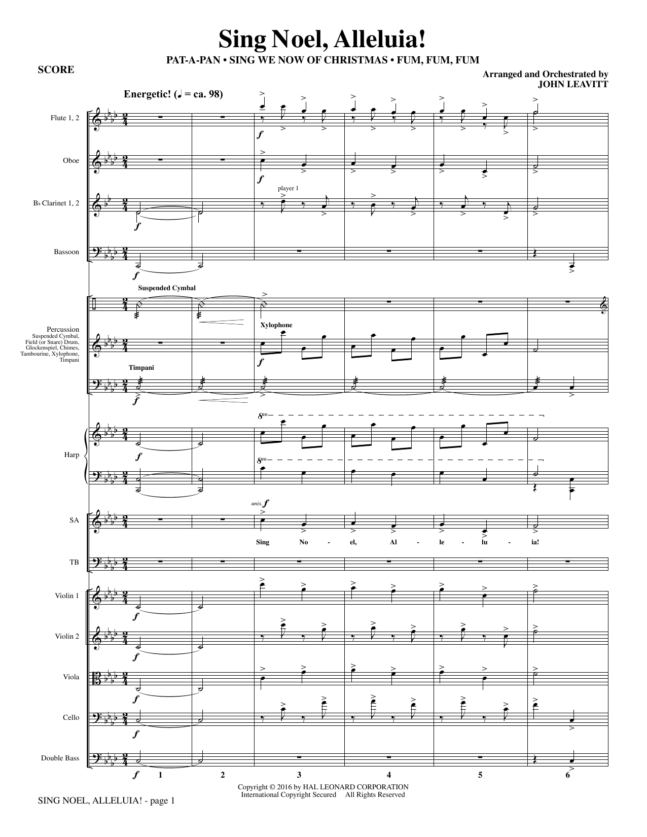Sing Noel, Alleluia! (COMPLETE) sheet music for orchestra/band by John Leavitt. Score Image Preview.