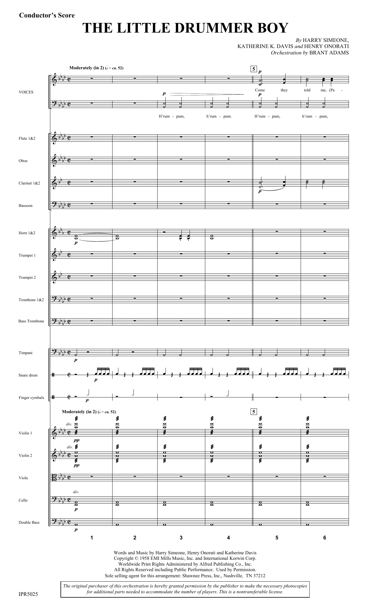 The Little Drummer Boy (COMPLETE) sheet music for orchestra/band by Harry Simeone, Henry Onorati and Katherine Davis. Score Image Preview.
