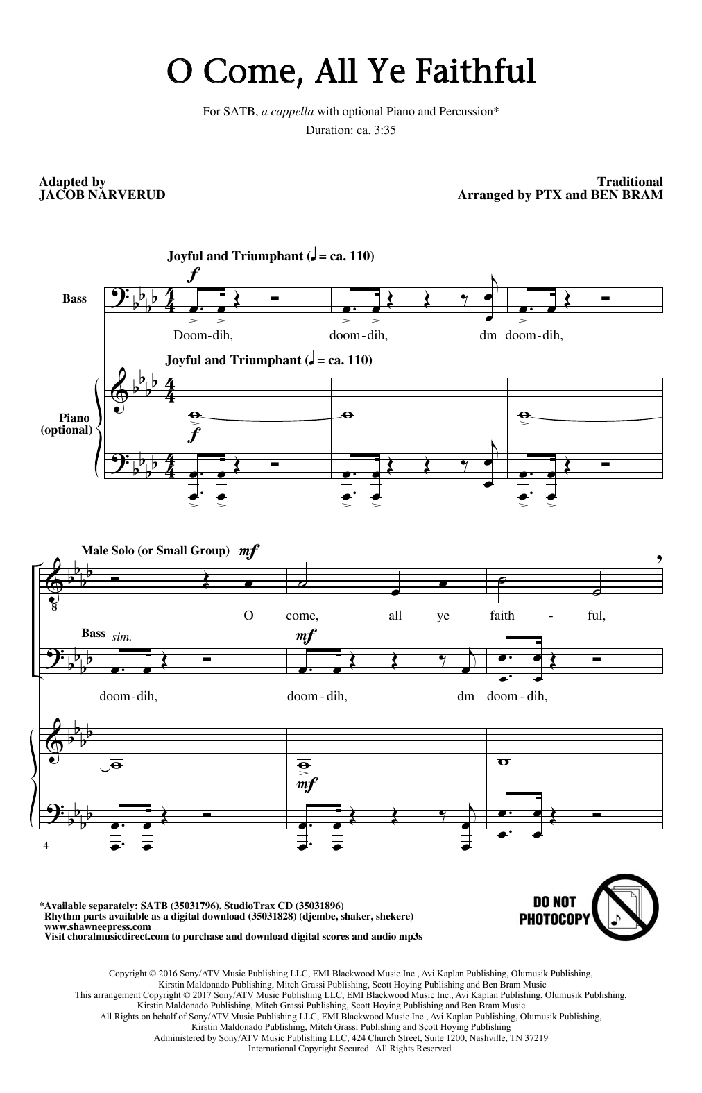 O Come, All Ye Faithful (arr. Jacob Narverud) (SATB Choir)