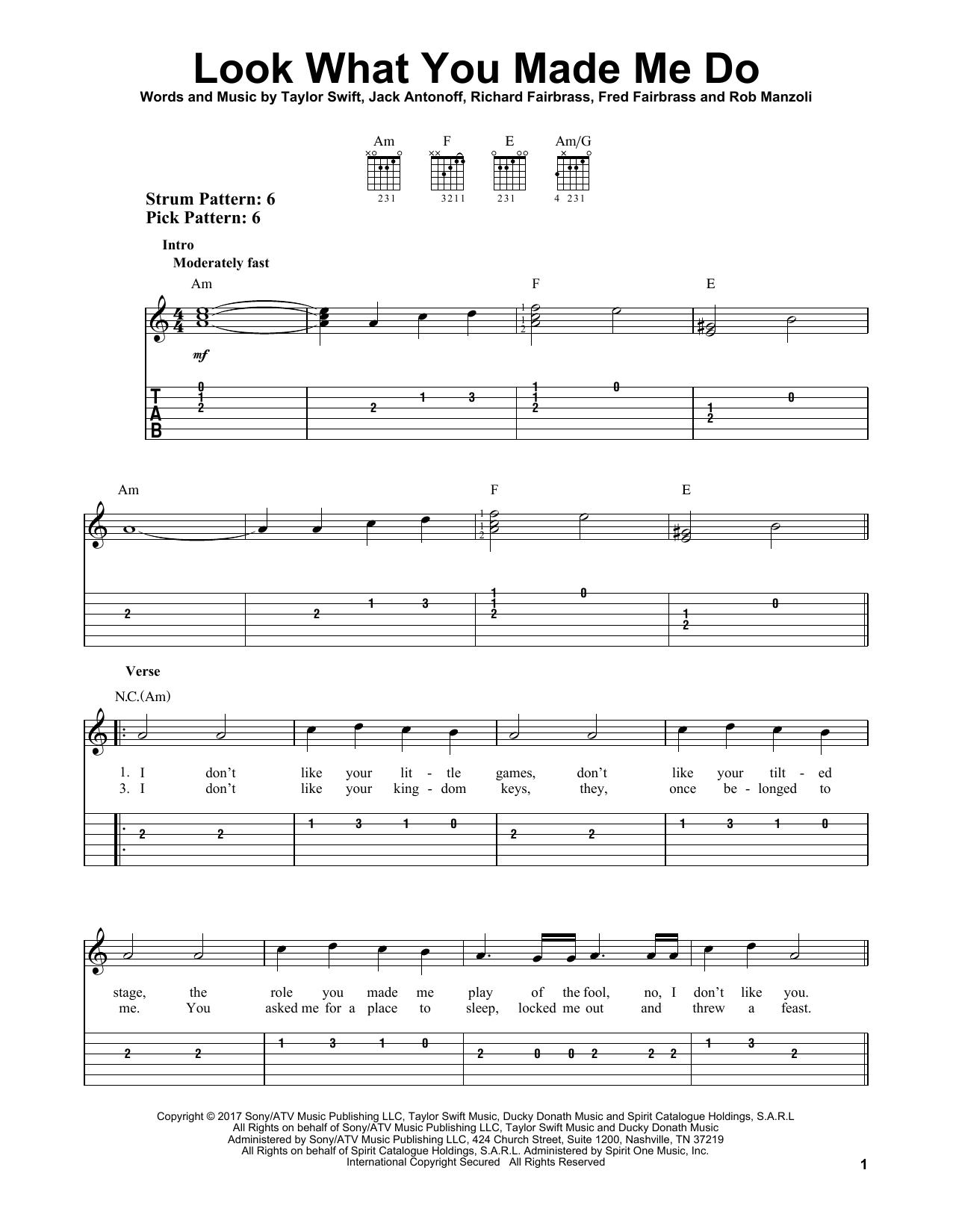 Look What You Made Me Do (Easy Guitar Tab)