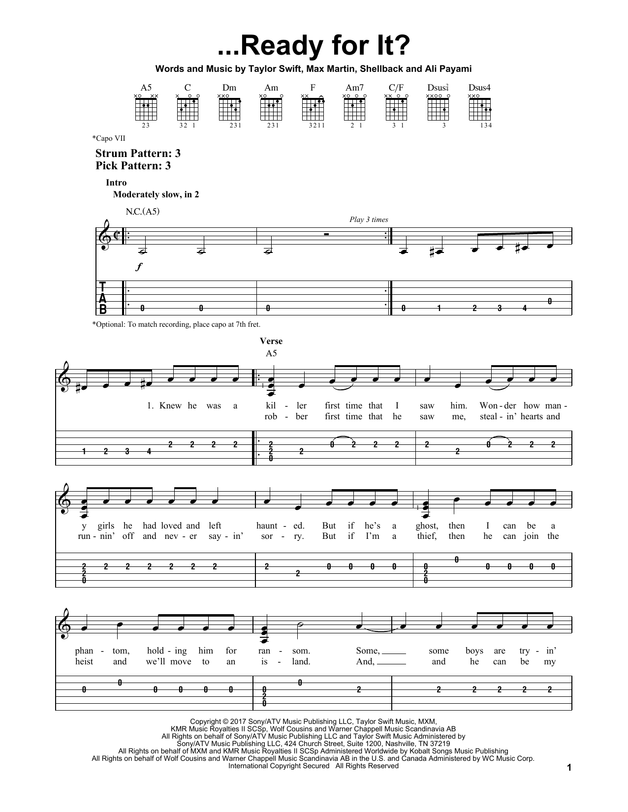 ...Ready For It? (Easy Guitar Tab)