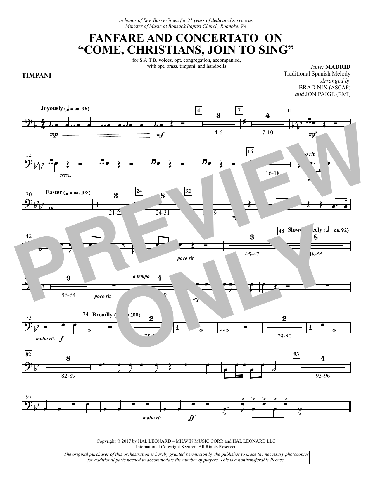 """Fanfare and Concertato on """"Come, Christians, Join to Sing"""" - Timpani (Choir Instrumental Pak)"""