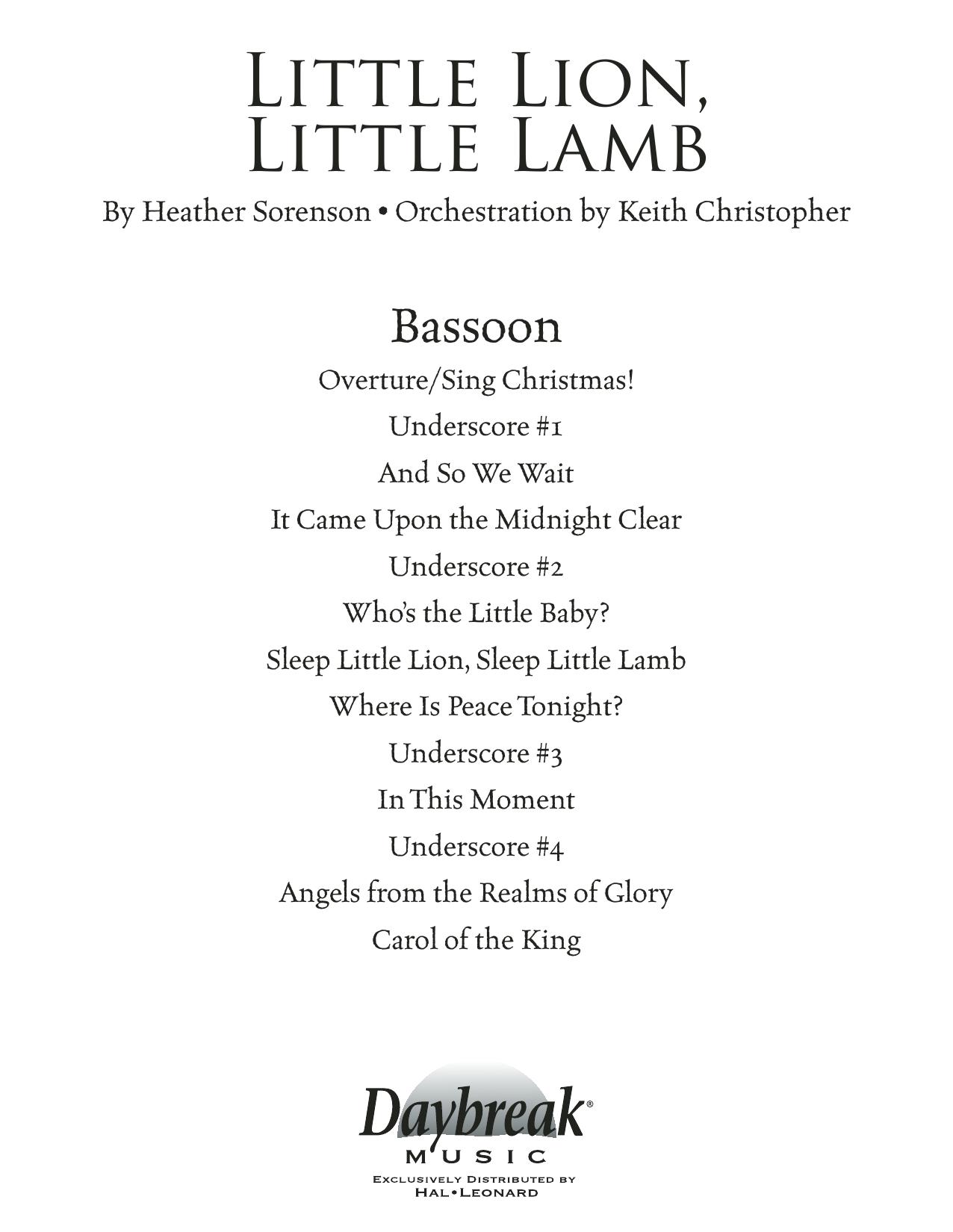 Little Lion, Little Lamb - Bassoon (Choir Instrumental Pak)