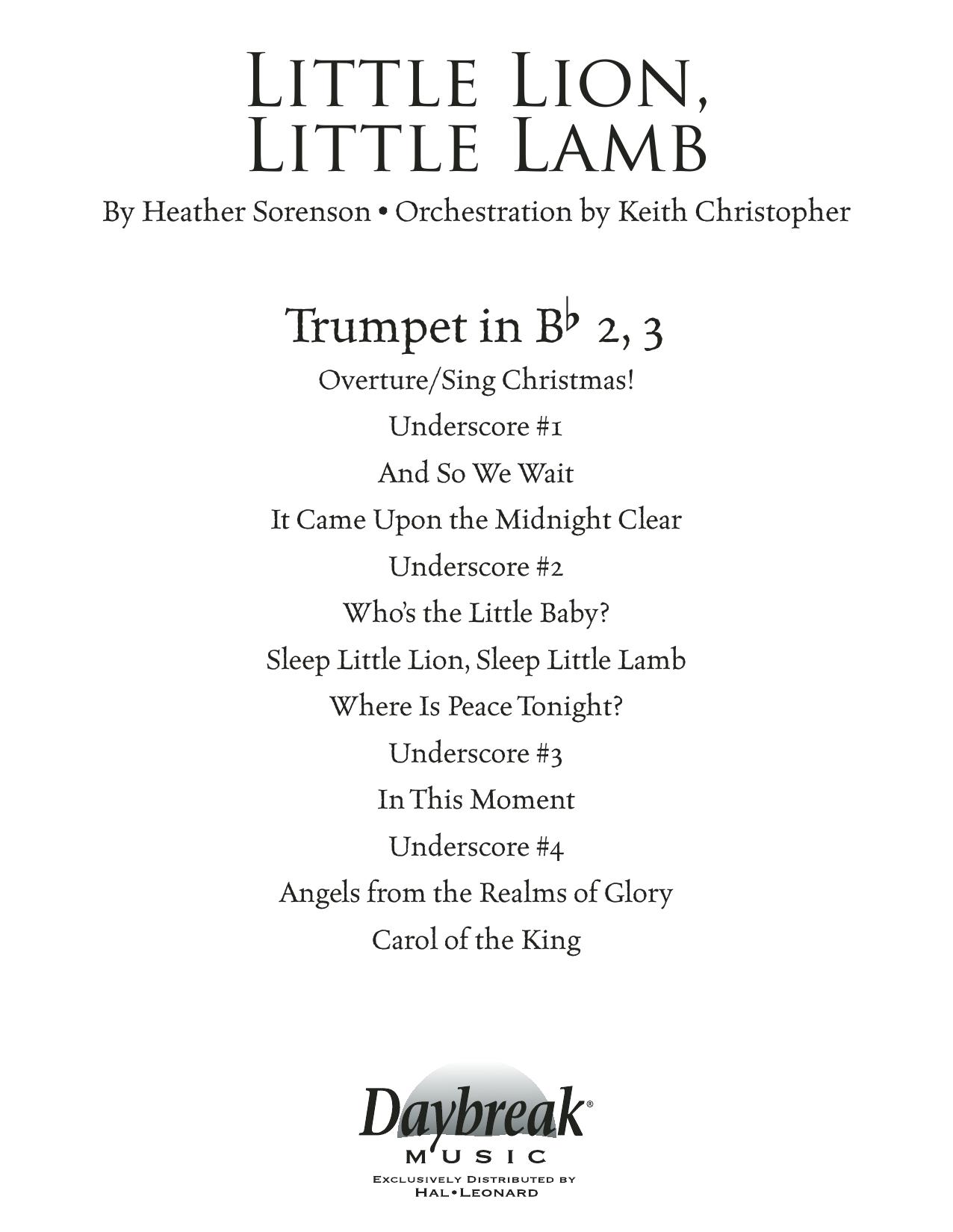 Little Lion, Little Lamb - Bb Trumpet 2,3 (Choir Instrumental Pak)