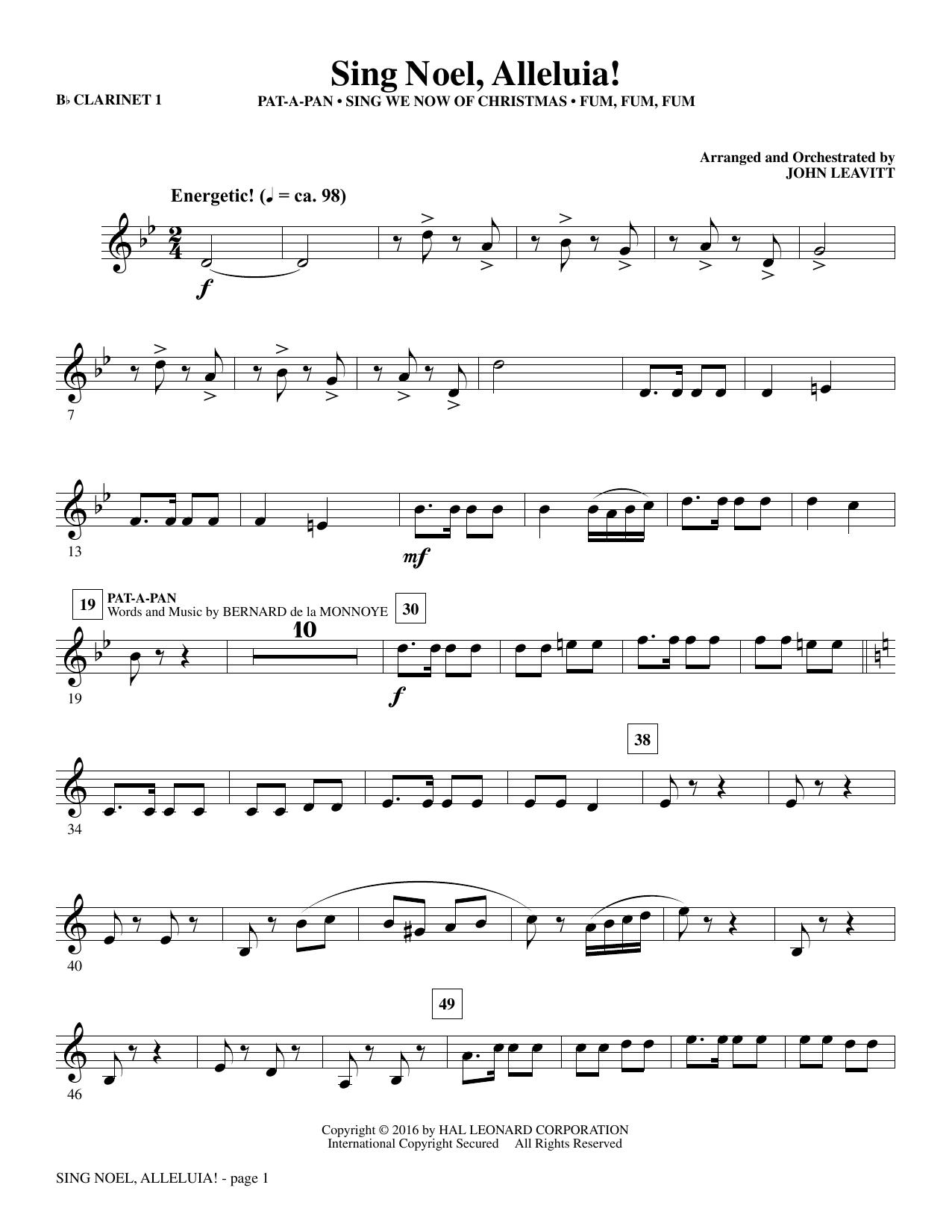 Sing Noel, Alleluia! - Bb Clarinet 1 (Choir Instrumental Pak)