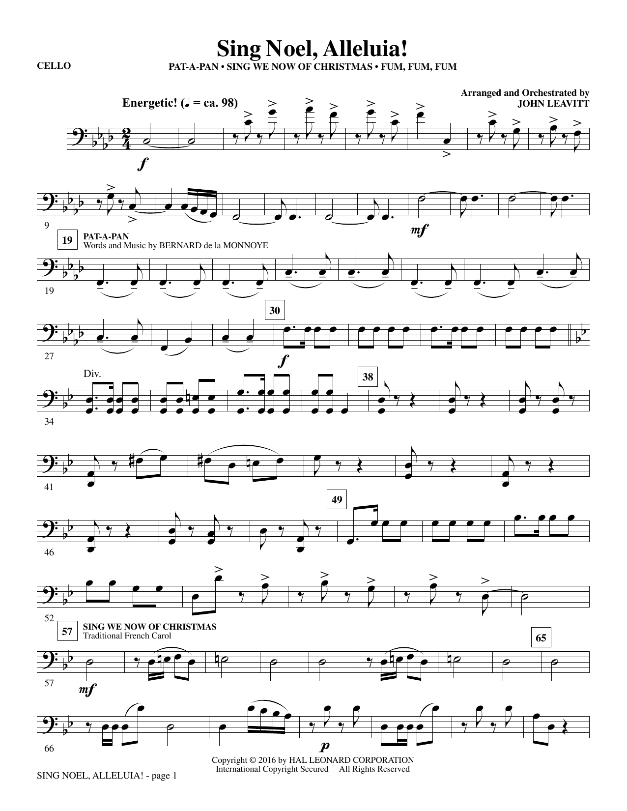 Sing Noel, Alleluia! - Cello (Choir Instrumental Pak)