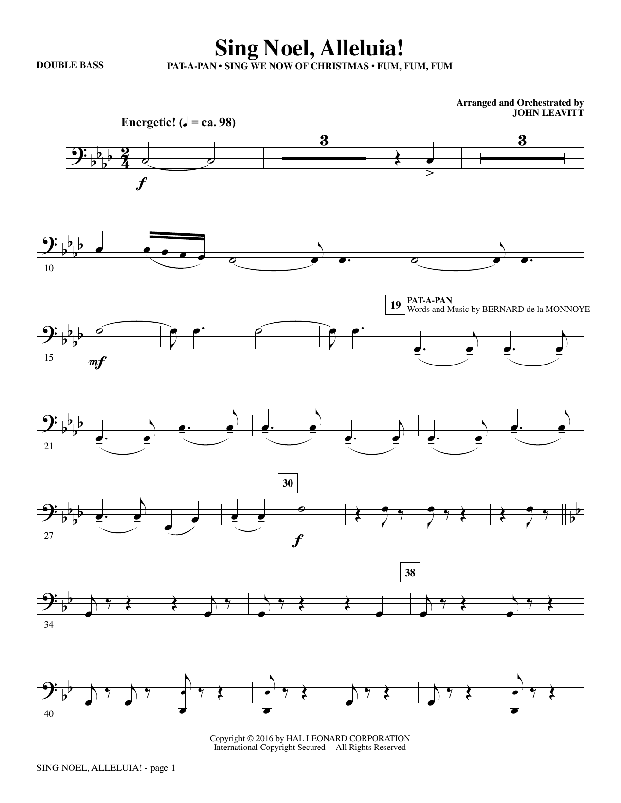 Sing Noel, Alleluia! - Double Bass (Choir Instrumental Pak)