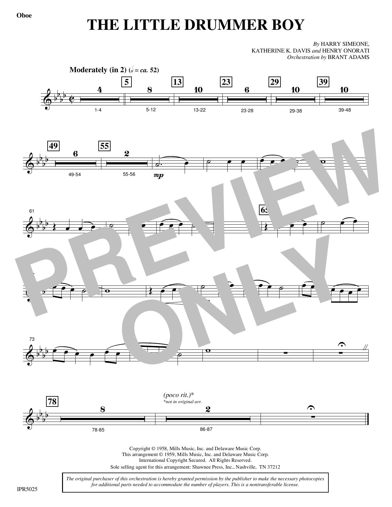 The Little Drummer Boy - Oboe (Choir Instrumental Pak)