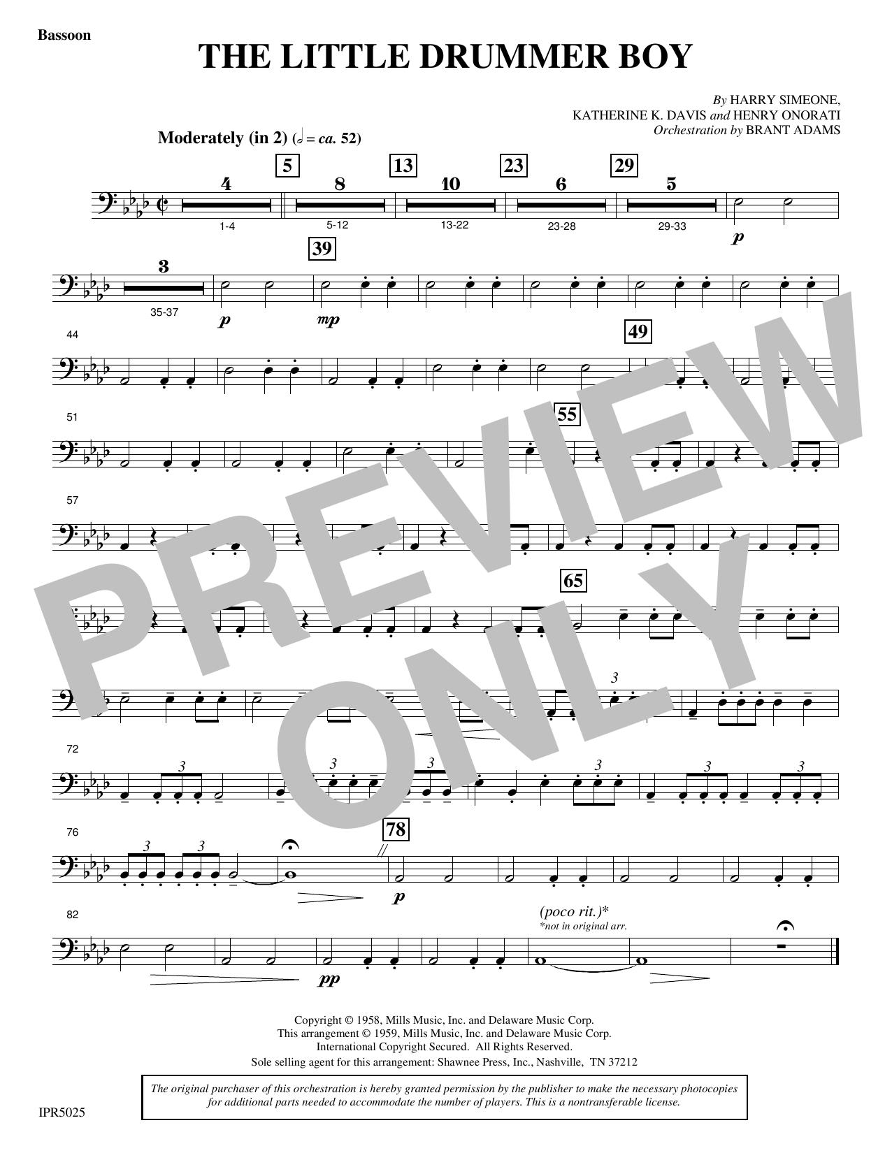 The Little Drummer Boy - Bassoon (Choir Instrumental Pak)