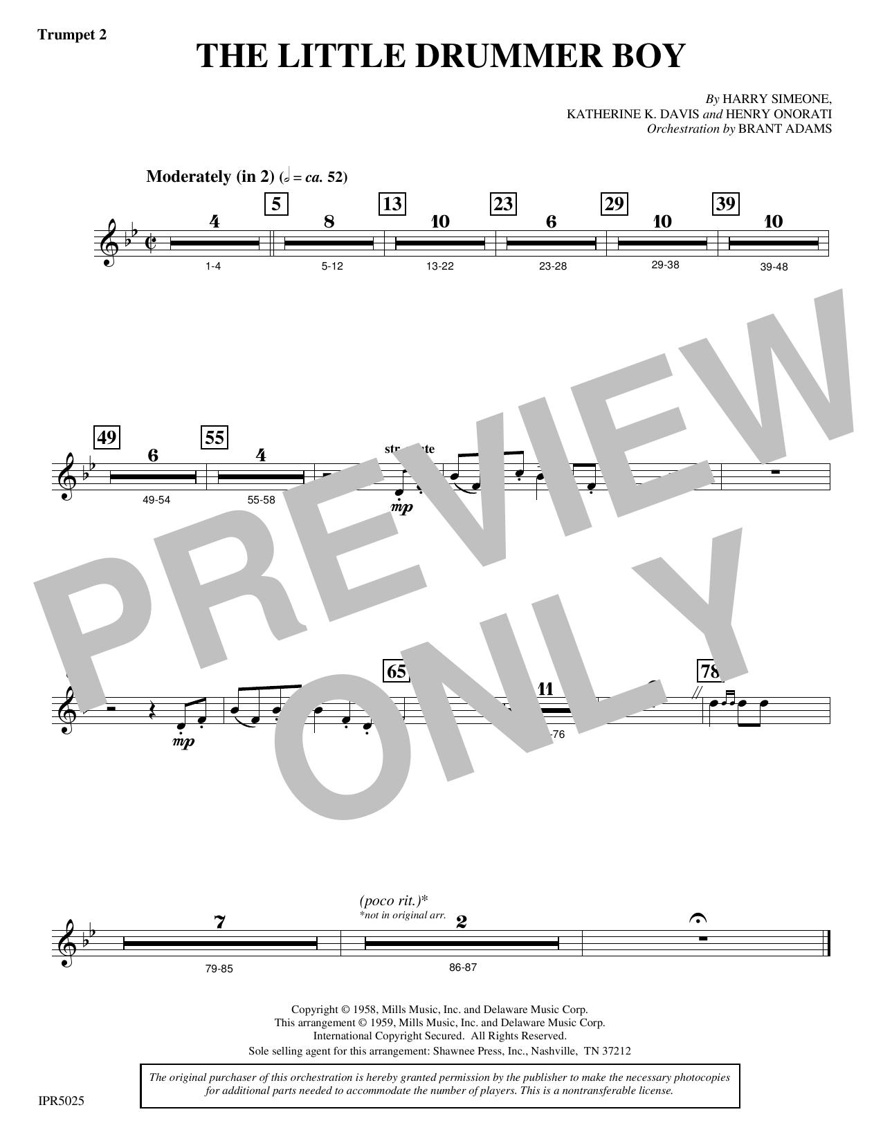 The Little Drummer Boy - Trumpet 2 (Choir Instrumental Pak)