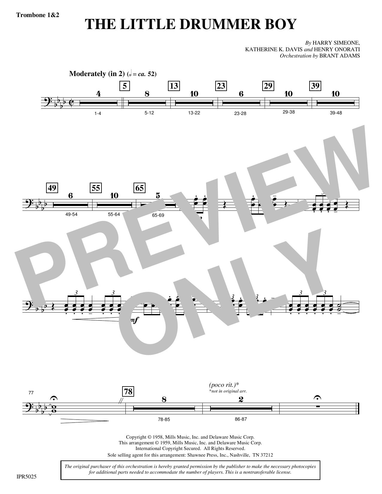 The Little Drummer Boy - Trombone 1 & 2 (Choir Instrumental Pak)