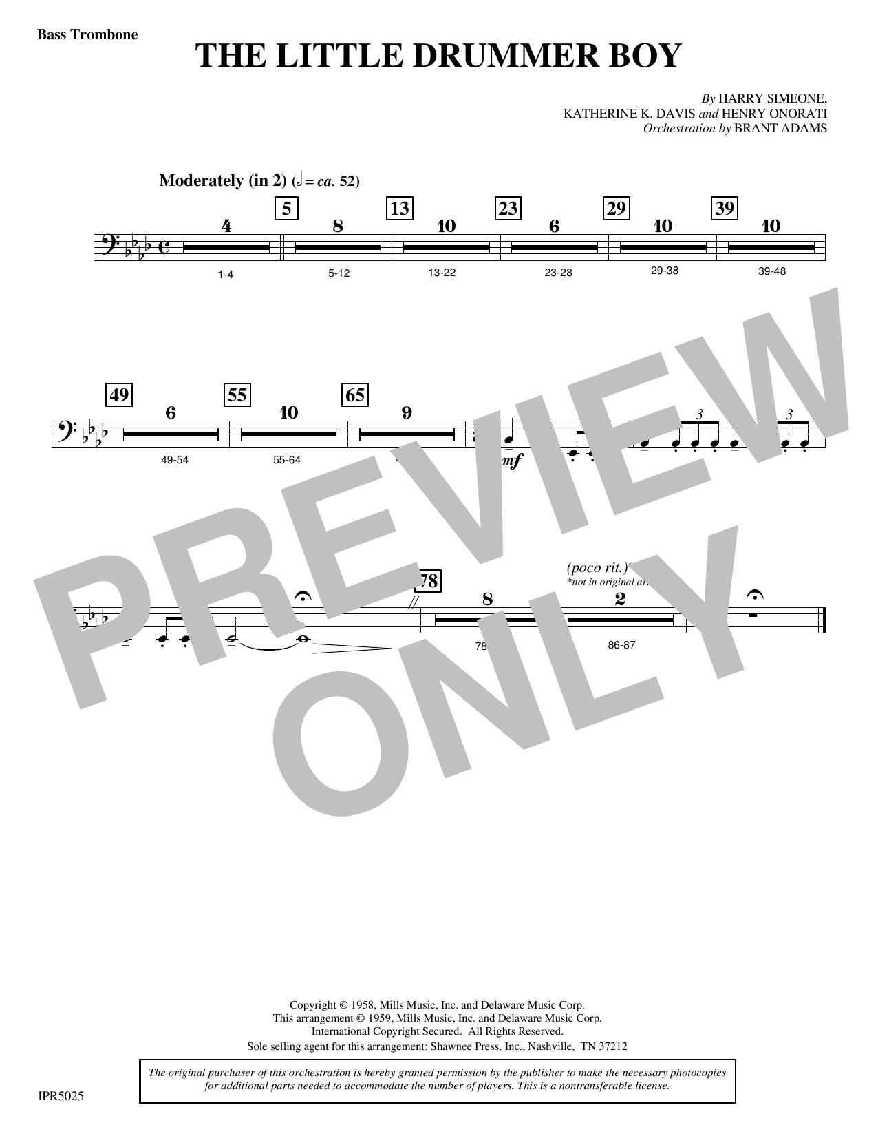 The Little Drummer Boy - Bass Trombone Digitale Noten