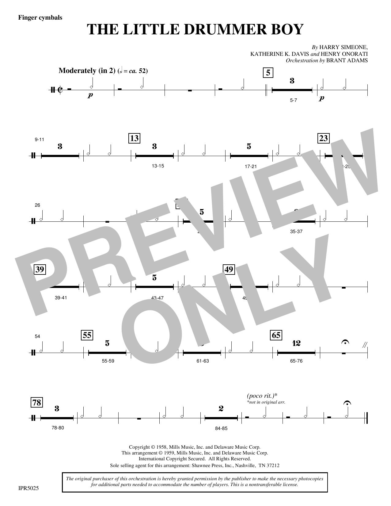 The Little Drummer Boy - Finger Cymbals (Choir Instrumental Pak)