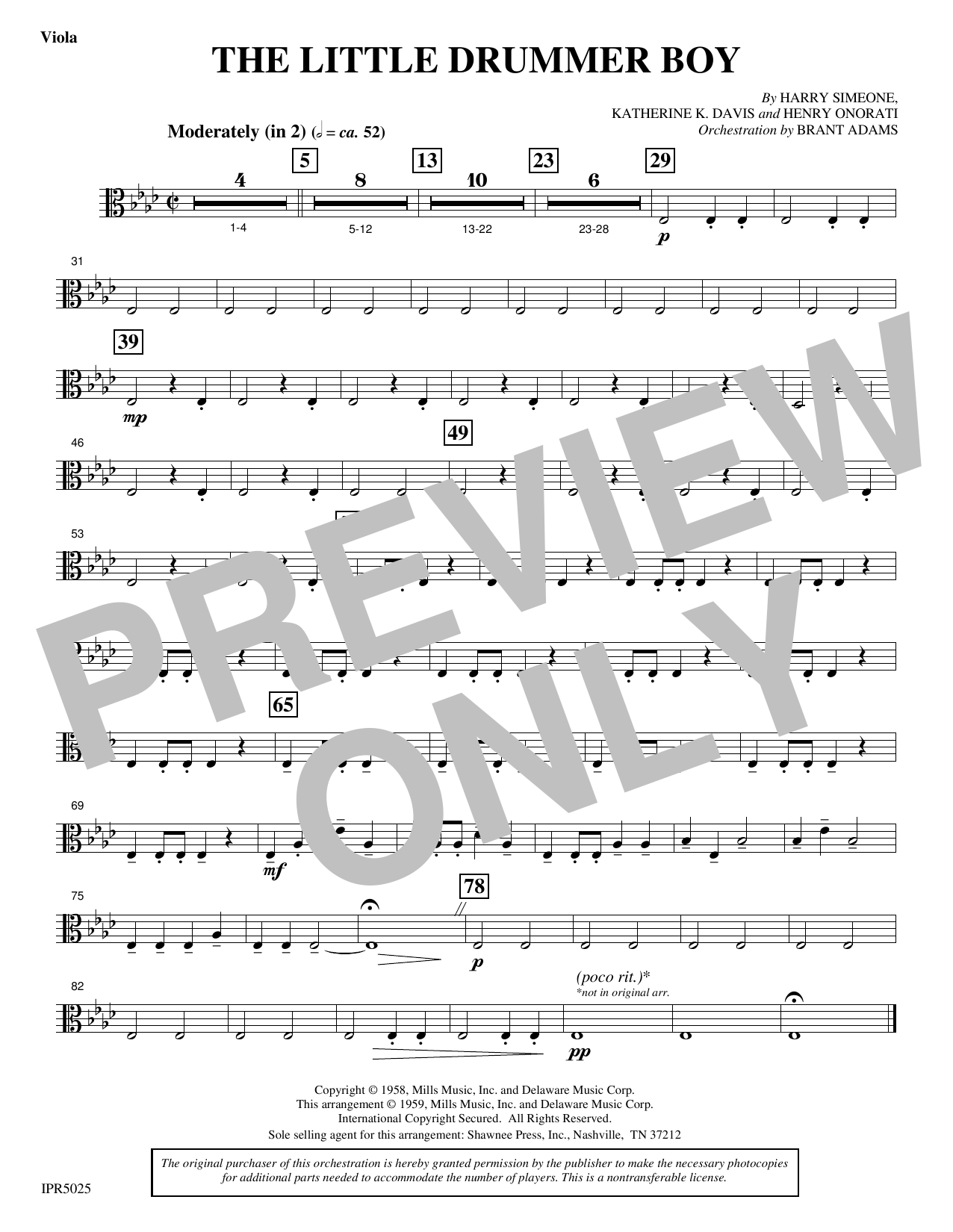 The Little Drummer Boy - Viola (Choir Instrumental Pak)