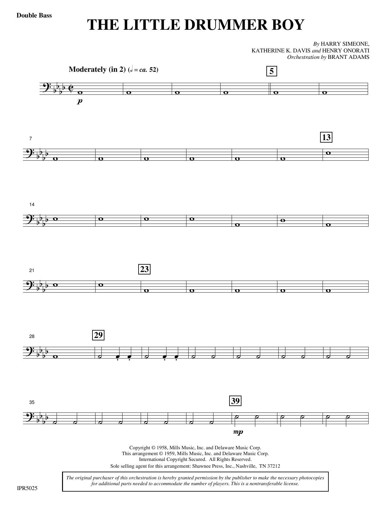 The Little Drummer Boy - Double Bass Sheet Music