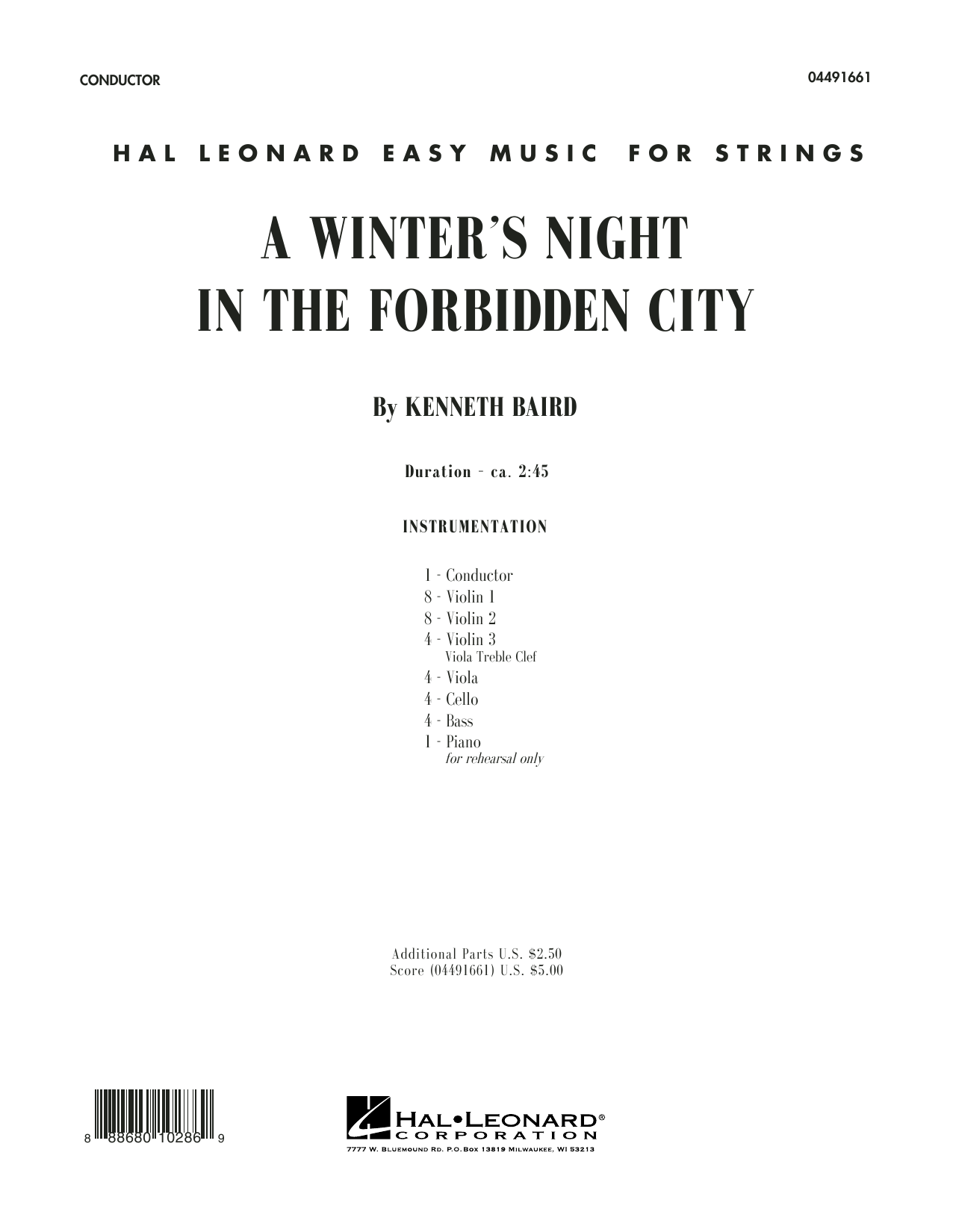 A Winter's Night in the Forbidden City (COMPLETE) sheet music for orchestra by Kenneth Baird. Score Image Preview.