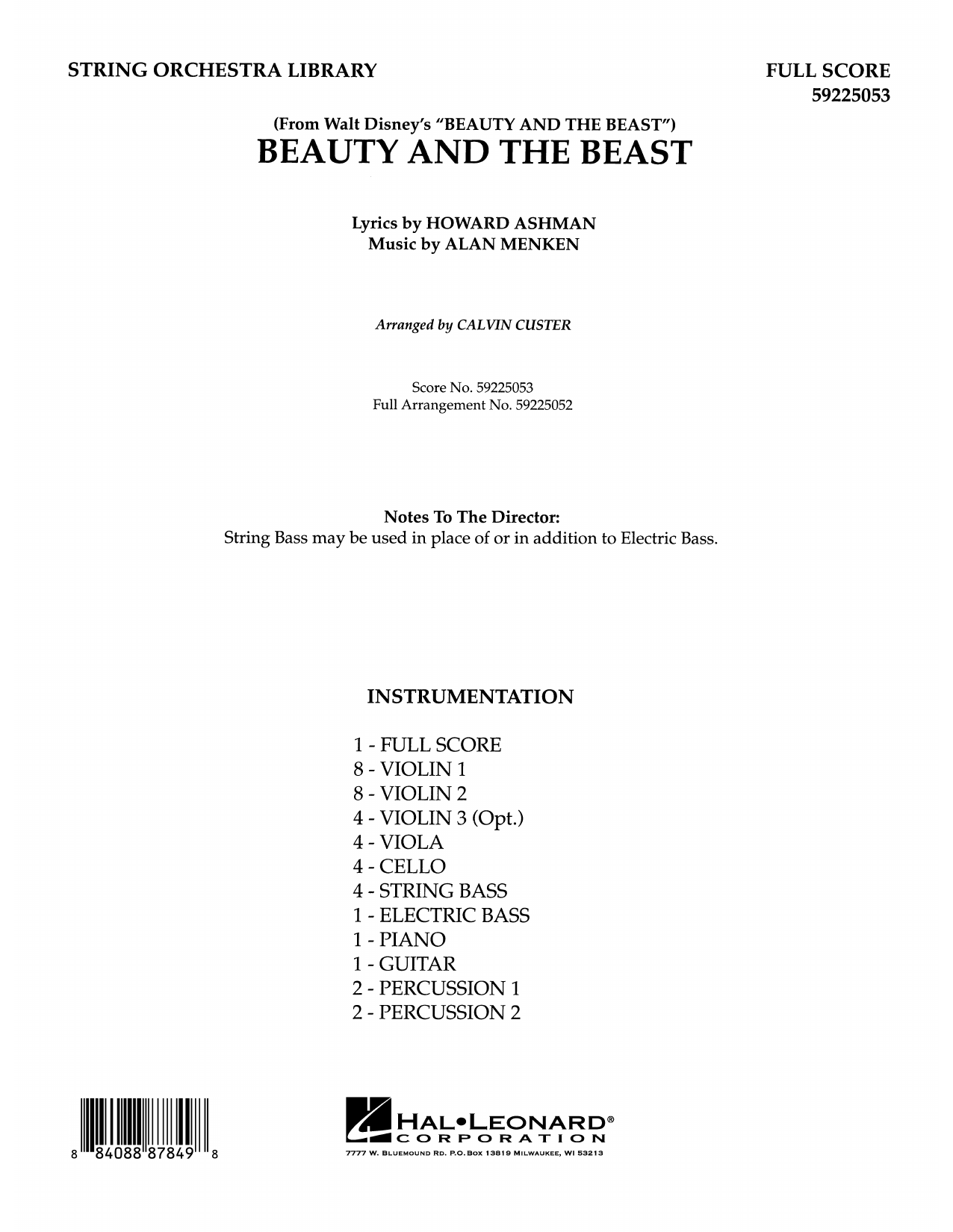 Beauty and the Beast (COMPLETE) sheet music for orchestra by Alan Menken, Calvin Custer, Celine Dion & Peabo Bryson and Howard Ashman. Score Image Preview.