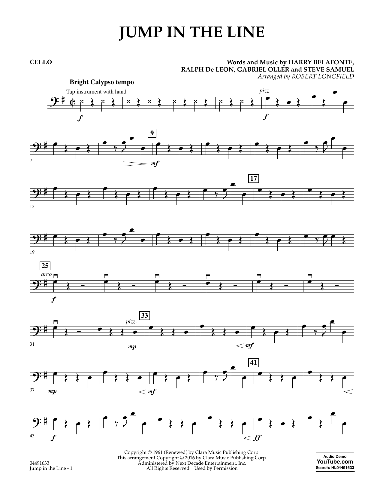 Jump In The Line Cello Sheet Music Robert Longfield Orchestra