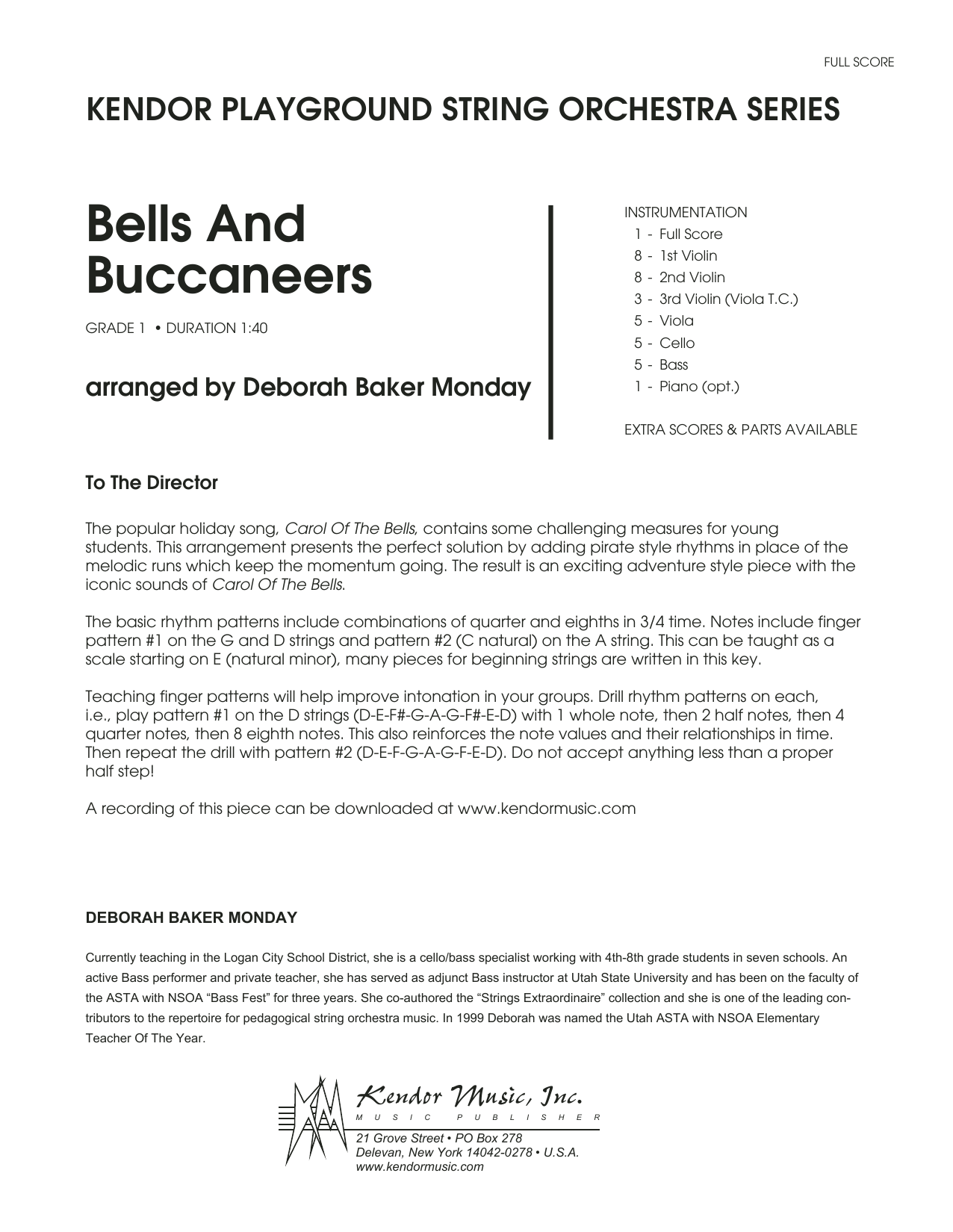 Bells And Buccaneers (COMPLETE) sheet music for orchestra by Deborah Baker Monday and Miscellaneous. Score Image Preview.