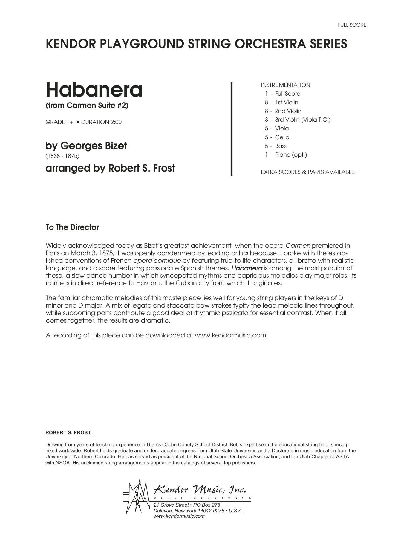 Habanera (from Carmen Suite #2) (arr. Robert S. Frost) - Full Score Partition Digitale