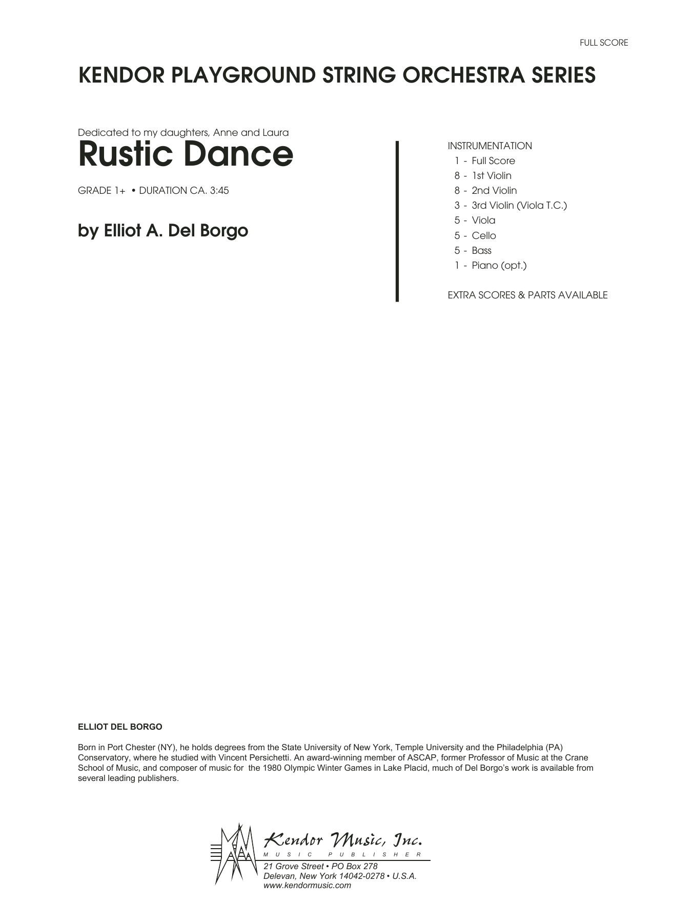 Rustic Dance (COMPLETE) sheet music for orchestra by Elliot A. Del Borgo. Score Image Preview.