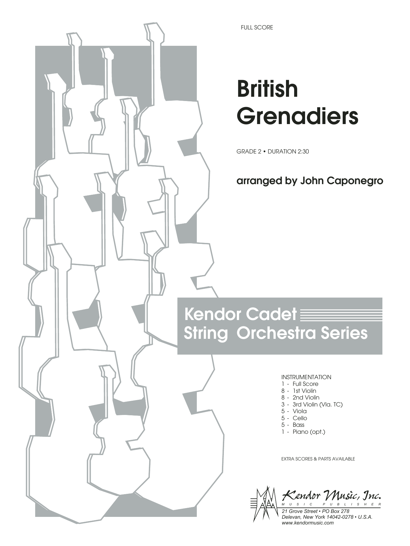 British Grenadiers (COMPLETE) sheet music for orchestra by John Caponegro. Score Image Preview.